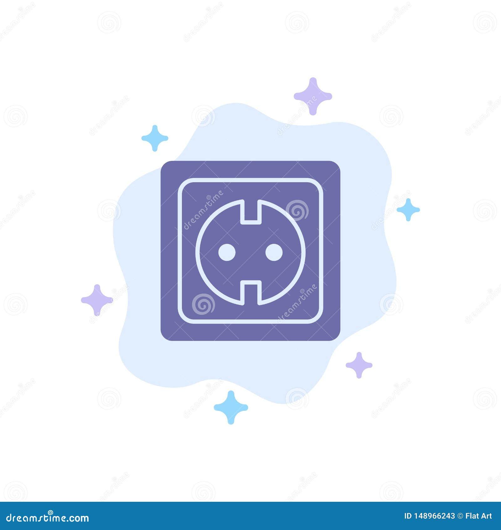 Электрический, энергия, штепсельная вилка, электропитание, значок гнезда голубой на абстрактной предпосылке облака