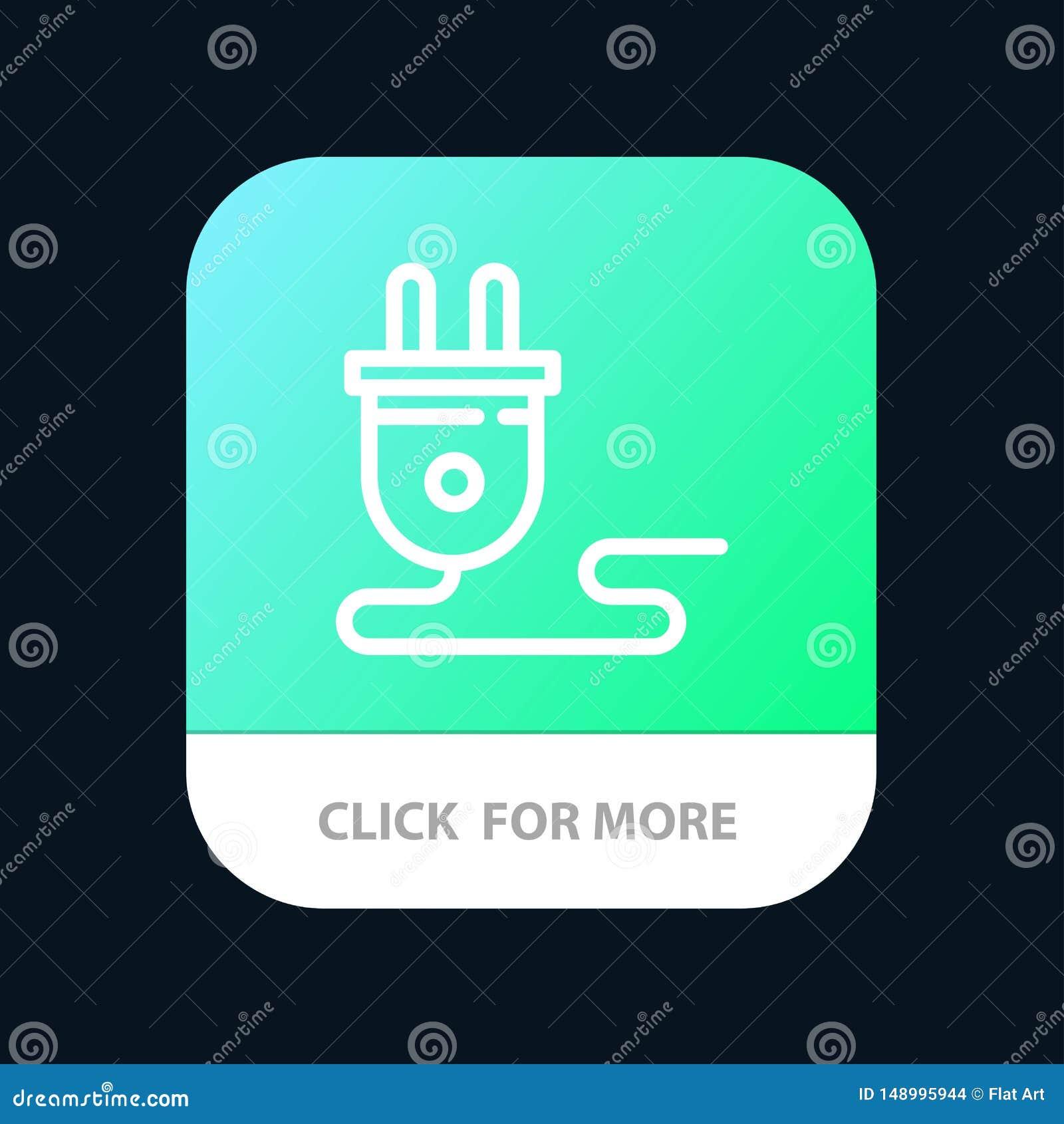 Электрический, энергия, штепсельная вилка, электропитание, мобильная кнопка приложения Андроид и линия версия IOS