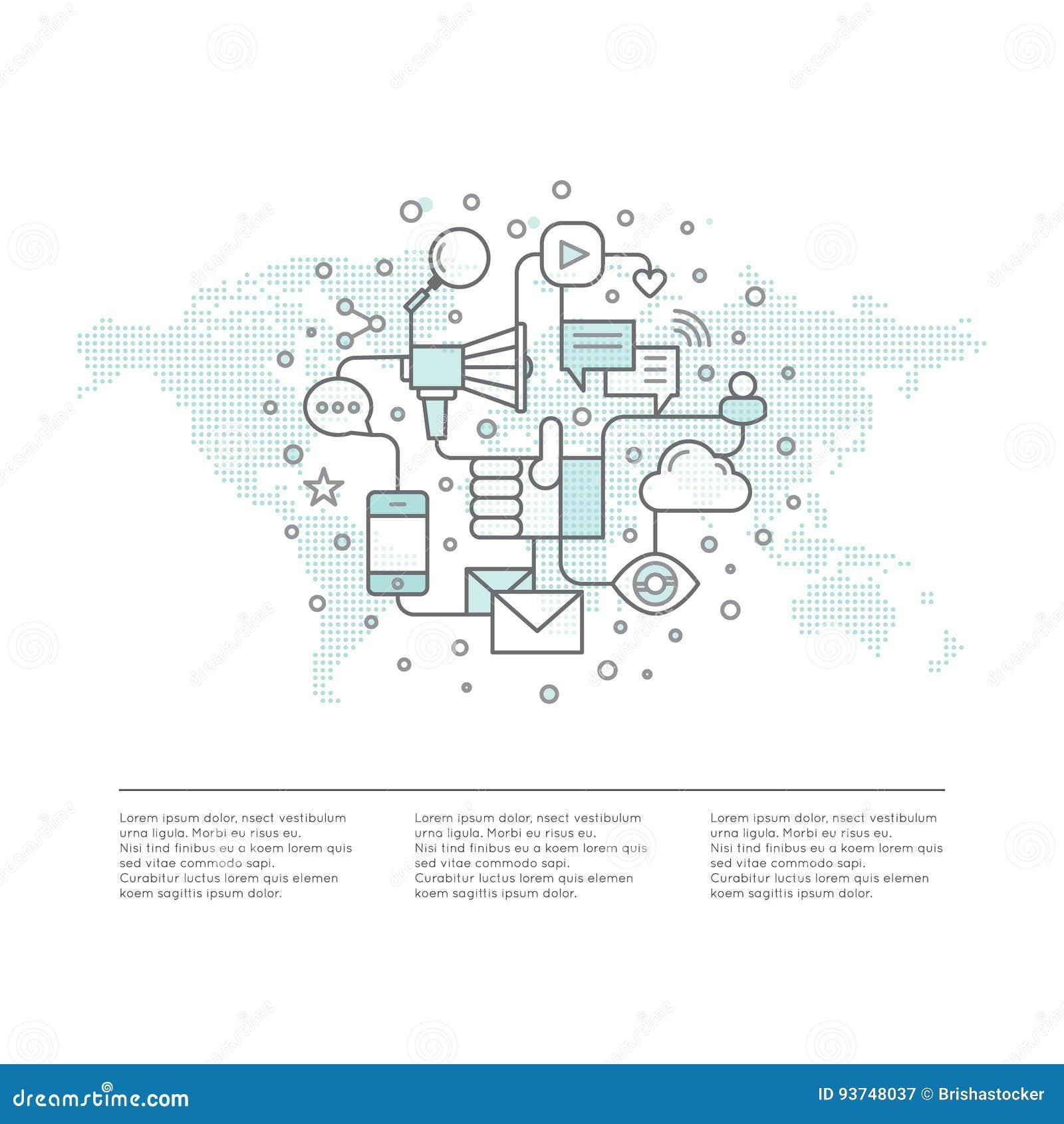 Электронная почта интернета или передвижные уведомления и маркетинг предложения и социальная кампания Концепция продвижения отрос
