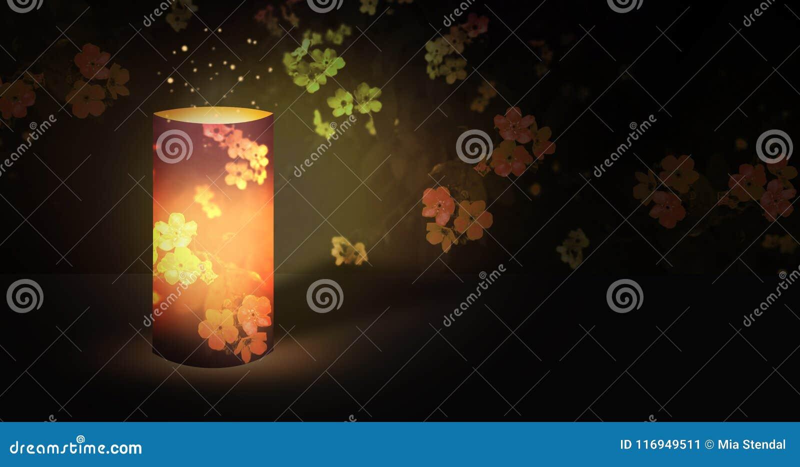 Электрофонарь романтичный в саде ночи зацветая с волшебным сиянием