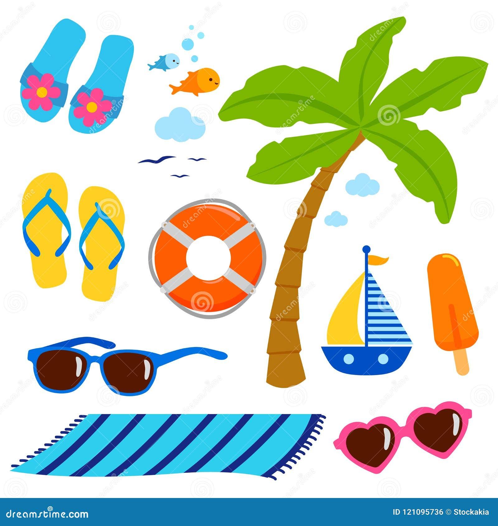 Элементы дизайна каникул пляжа темы лета