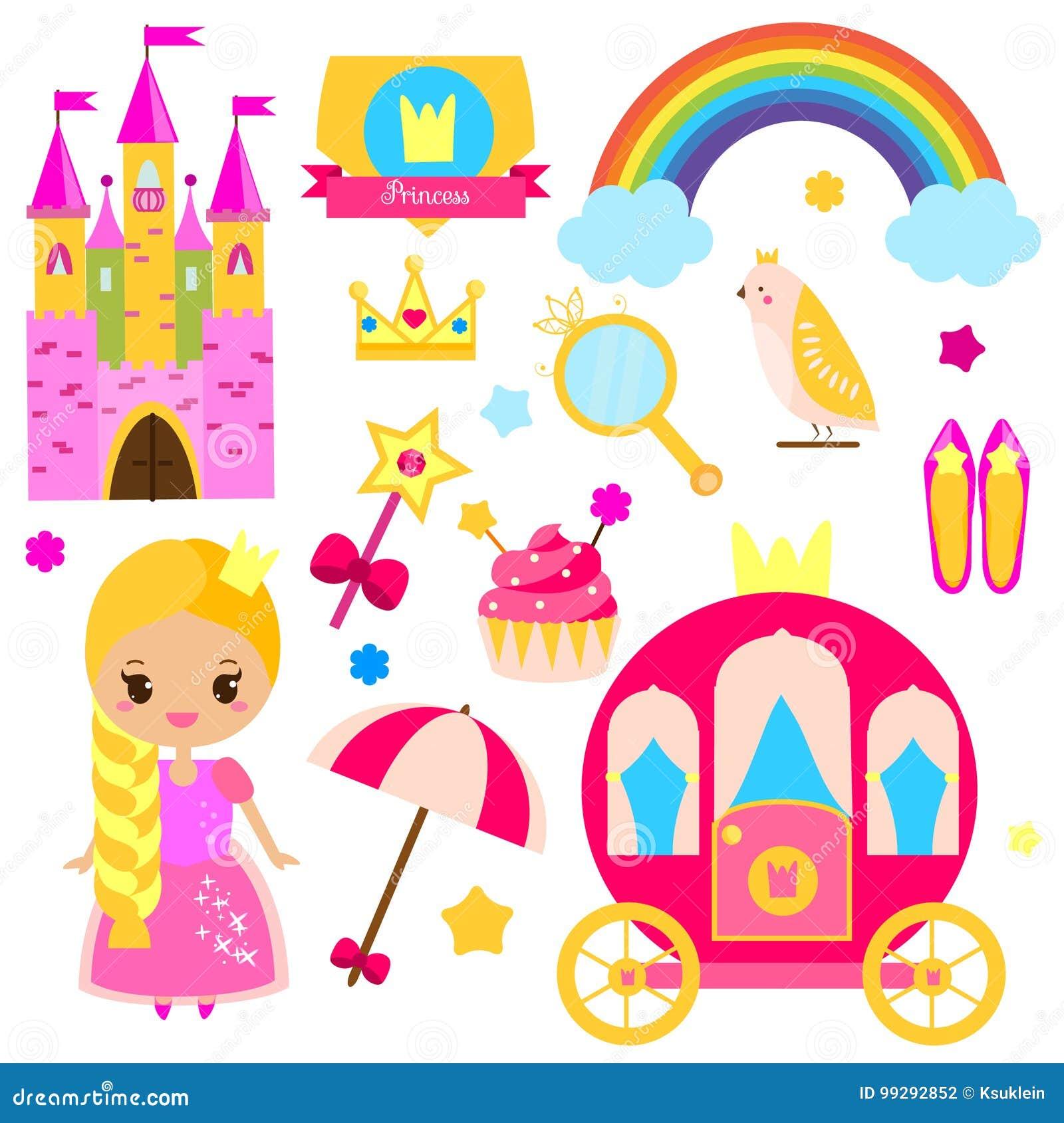 Элементы дизайна партии принцессы детей Стикеры, искусство зажима для девушек Экипаж, замок, радуга и другие fairy символы