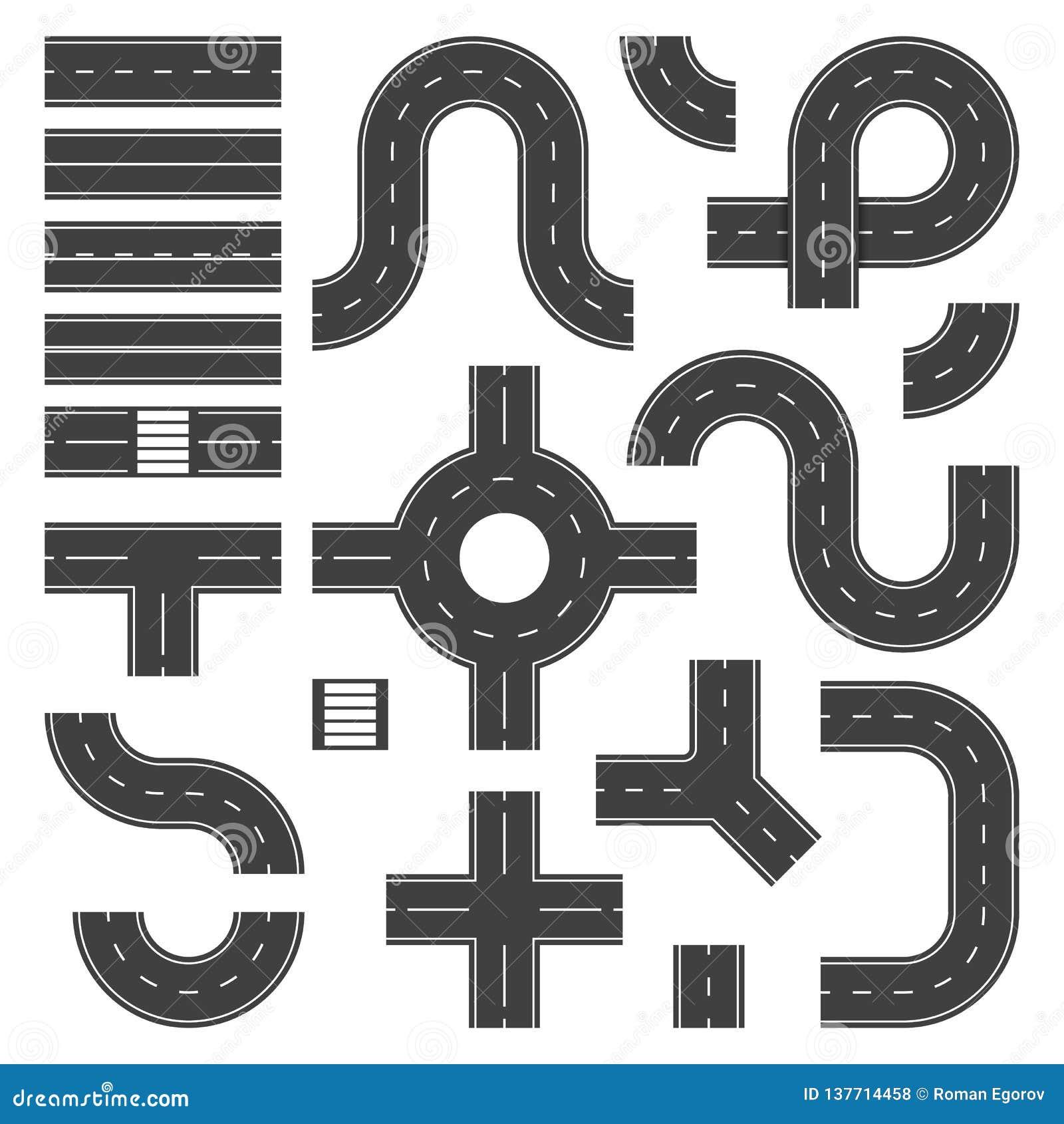 Элементы дороги взгляда сверху Соединение улицы и объекты дорог, скоростная дорога города асфальта Вектор троп перекрестка движен