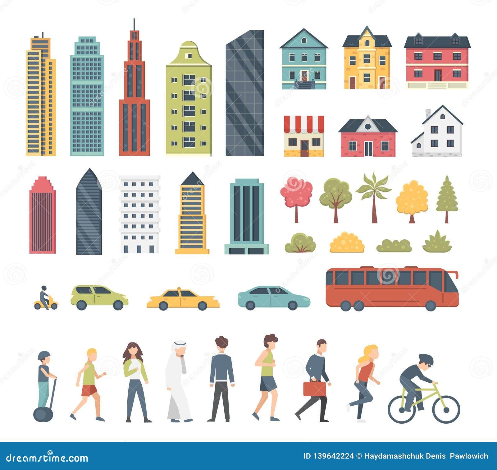 Элементы конструктора города в стиле мультфильма с деревьями, домами, переходом и peopple Архитектура городского пейзажа современ