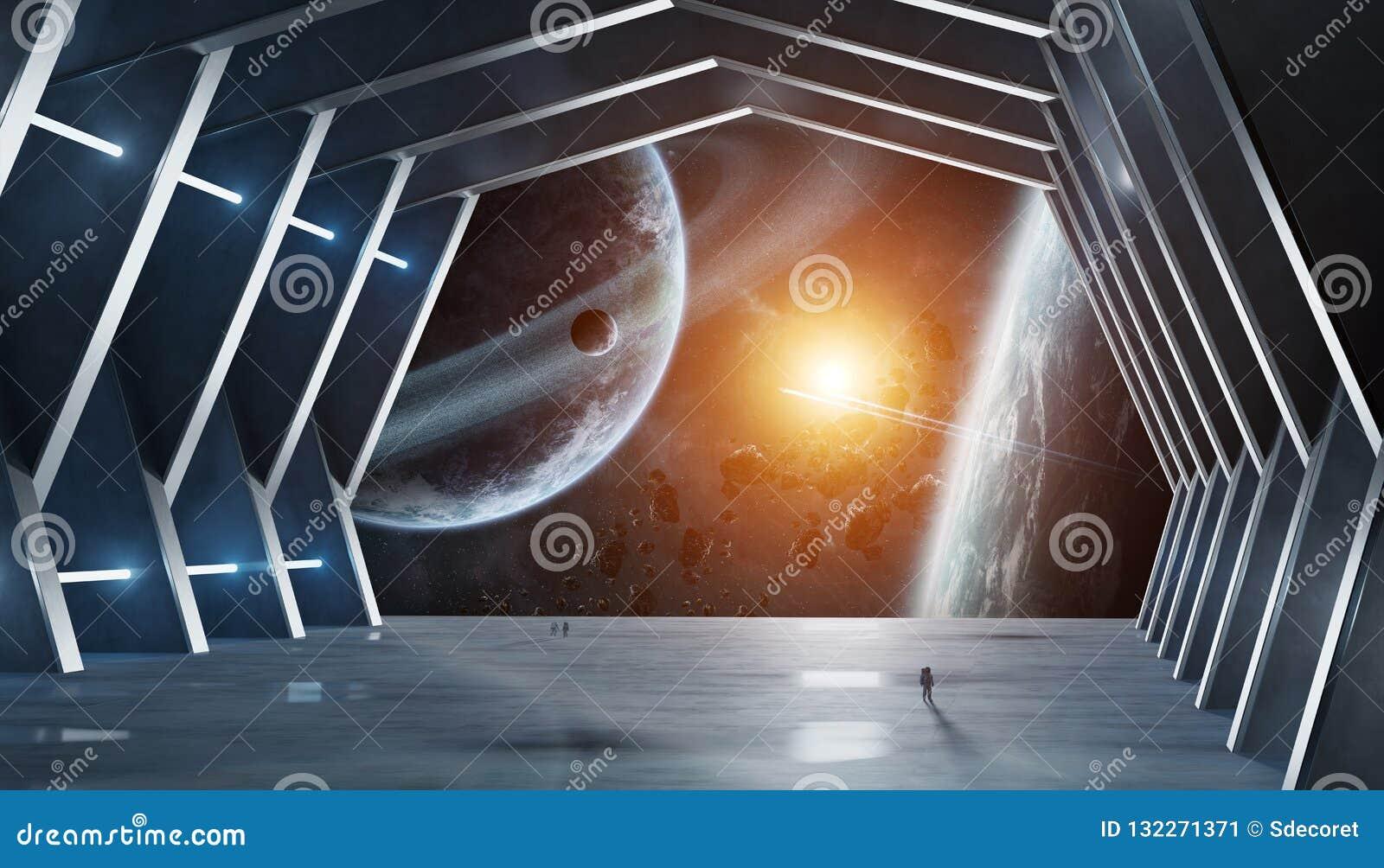 Элементы перевода 3D огромного космического корабля залы внутренние этого отображают