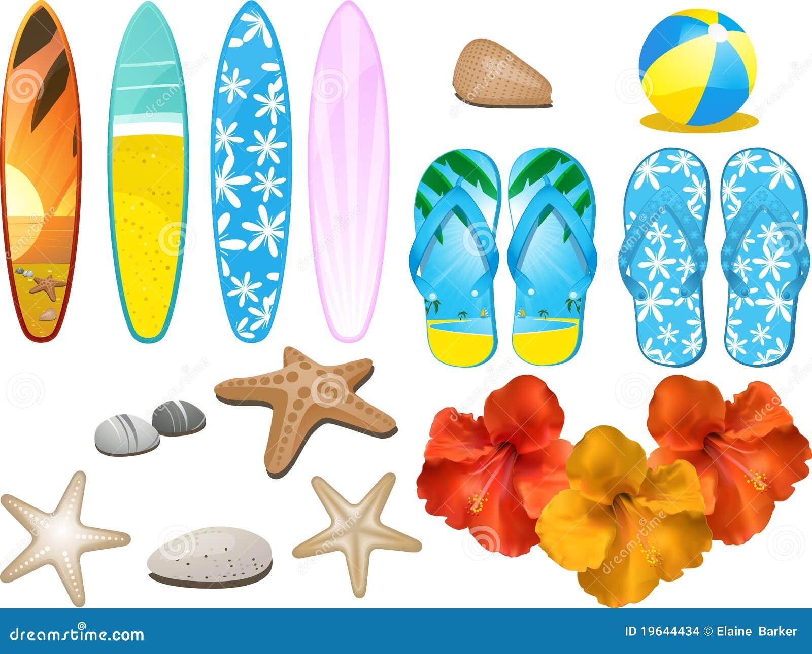 элементы пляжа тропические