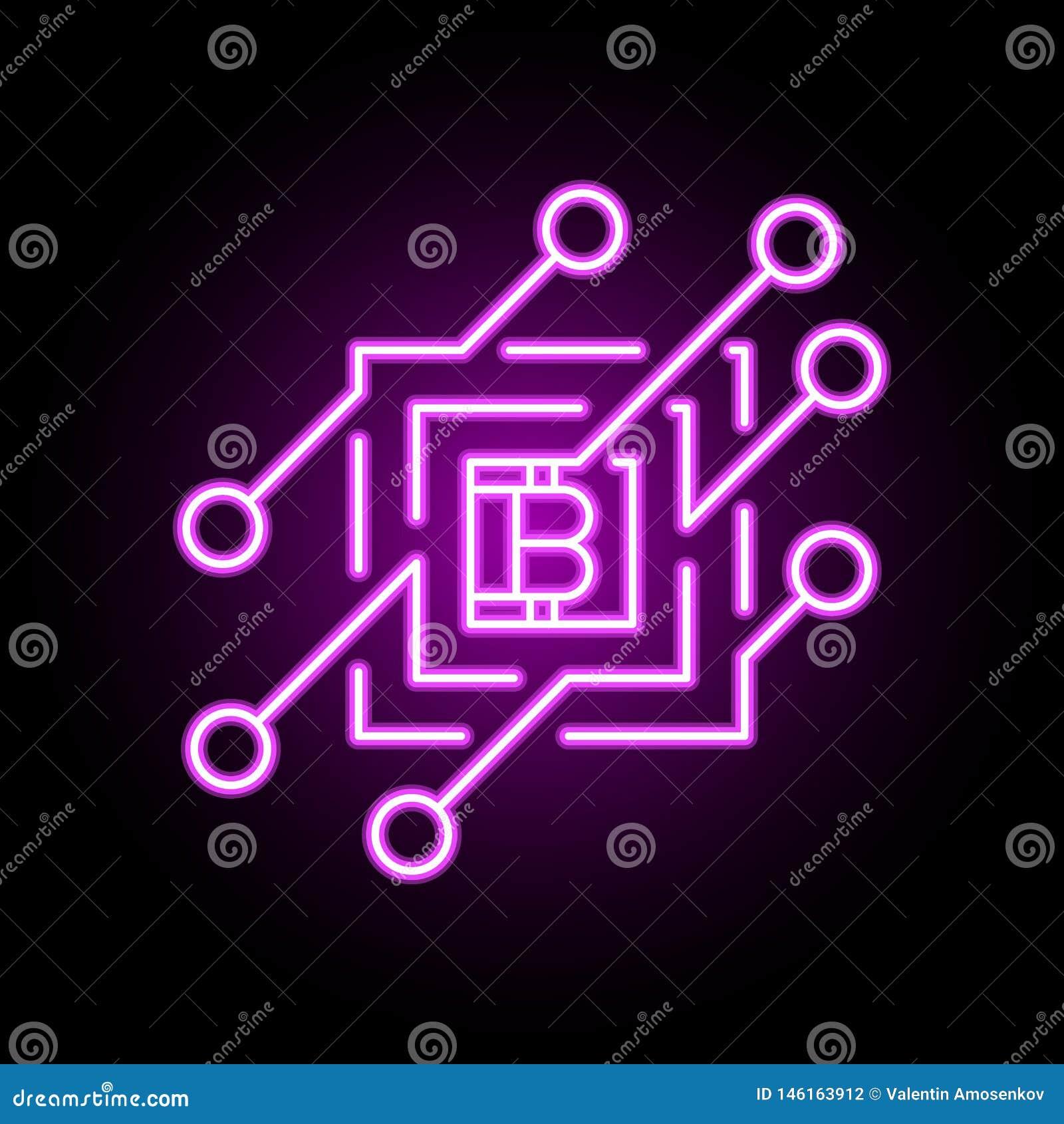 Элемент значка или дизайна концепции вектора Blockchain в неоновом стиле