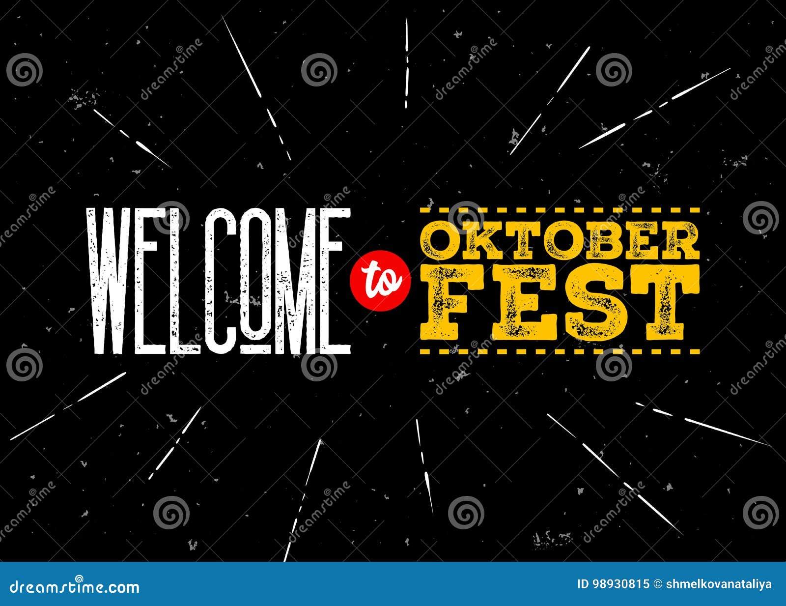 Эмблема вектора Octoberfest Добро пожаловать к надписи Oktoberfest