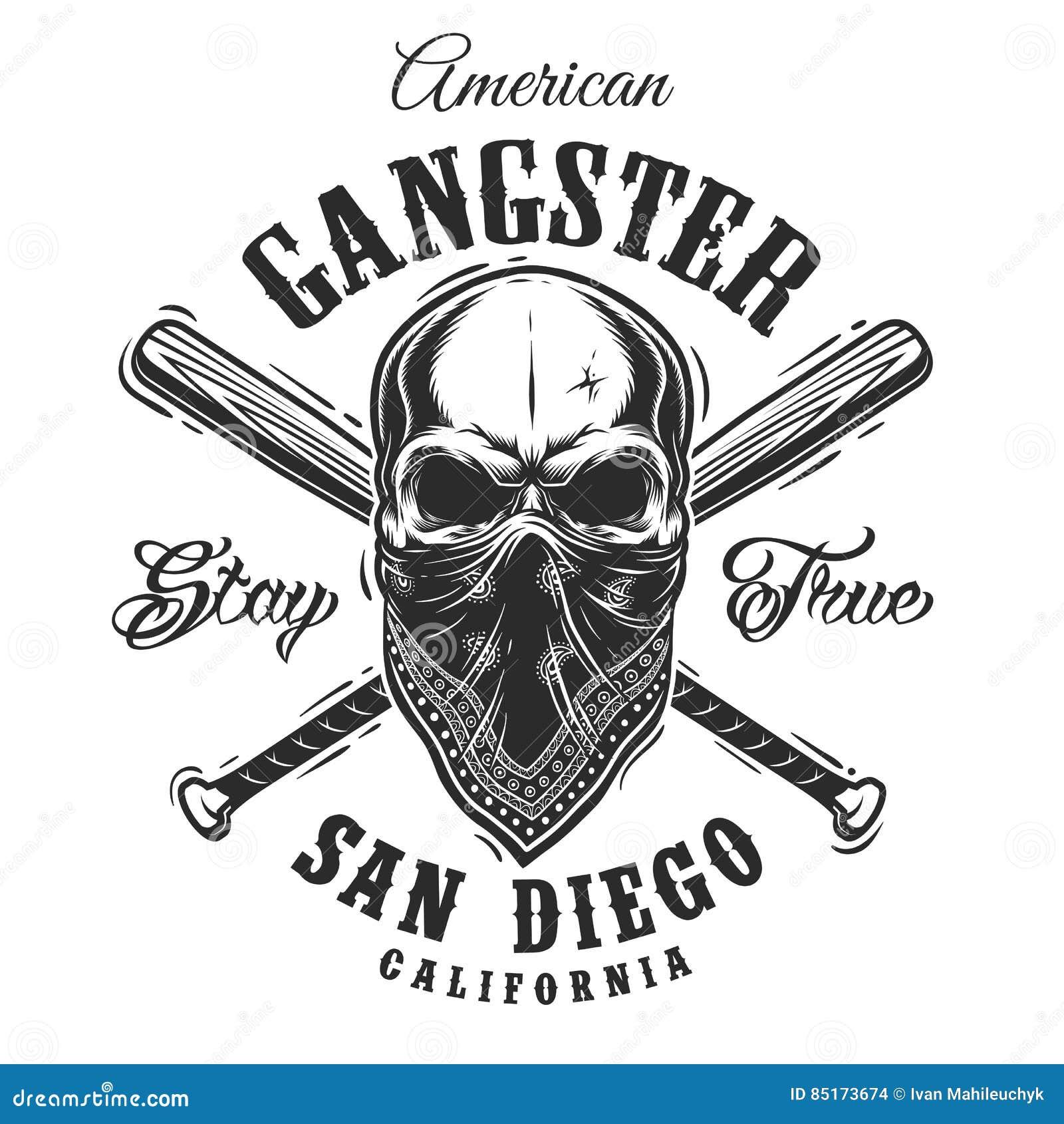 Эмблема гангстера с черепом в bandana