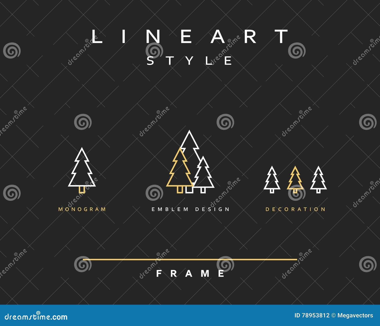 Эмблема дерева в линейном стиле
