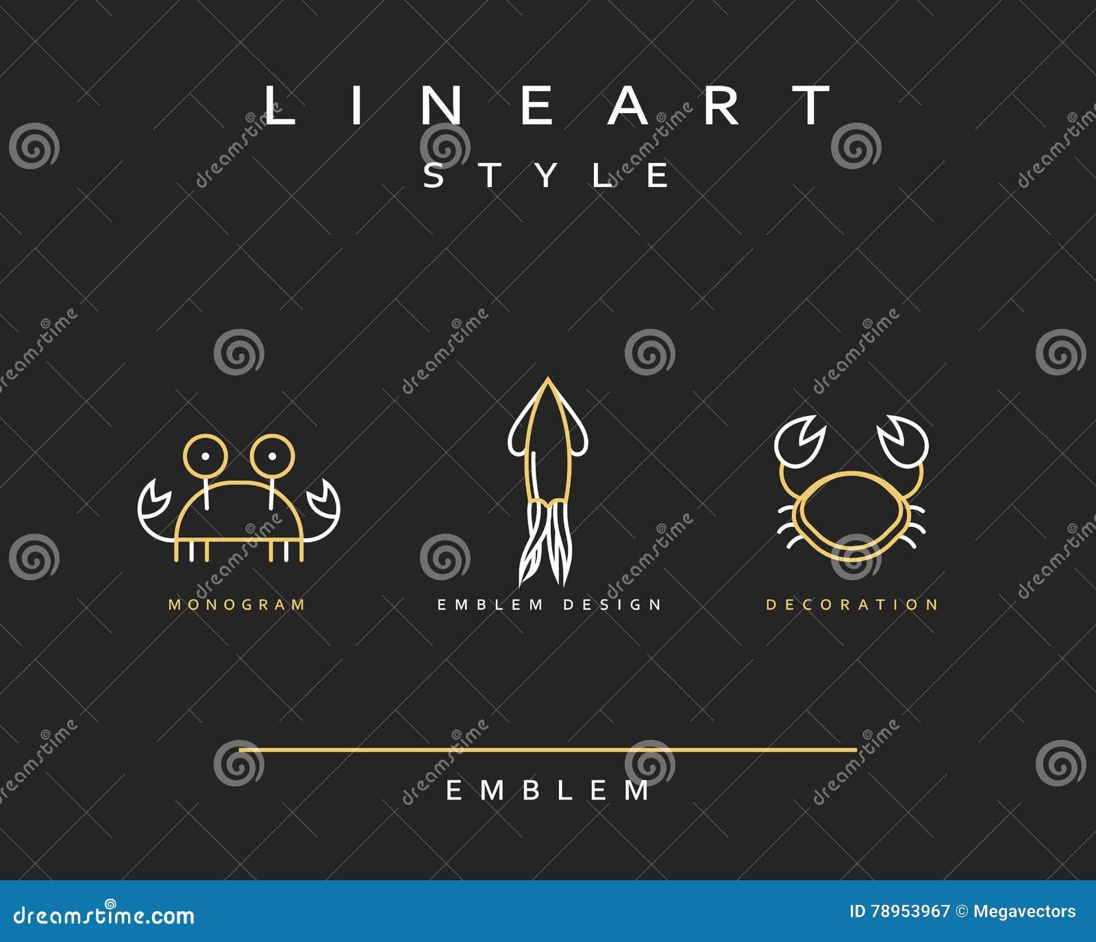 Эмблема морской флоры и фауны установленная в линейном стиле