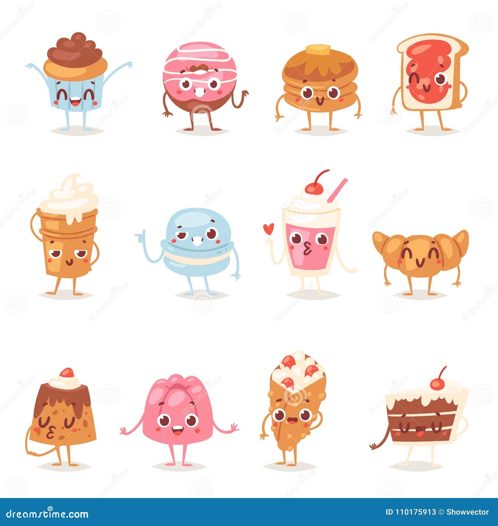 Эмоция пирожного кондитерскаи помадок шоколада вектора характера торта шаржа и сладостный десерт confection с испеченный