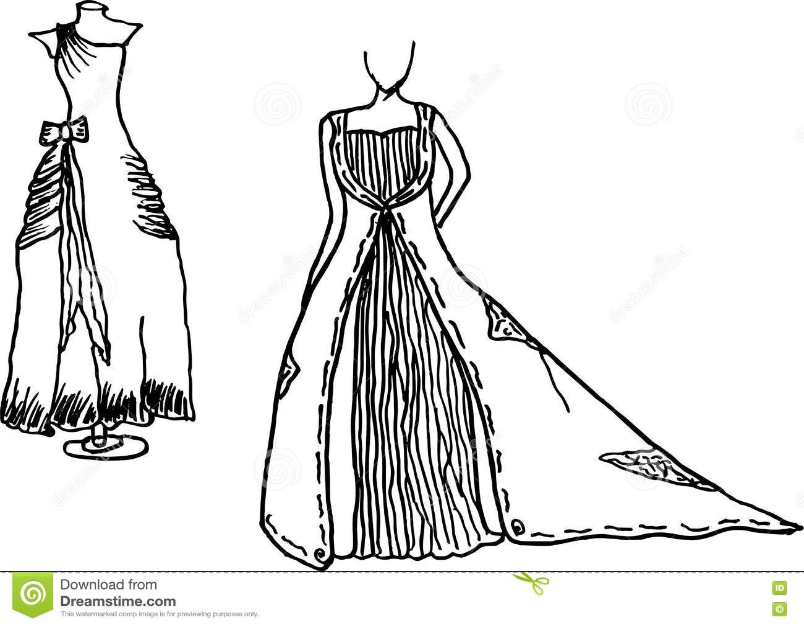 faf90955893 Фасонируйте вектор иллюстрации эскизов платья свадьбы дизайна нарисованный  рукой