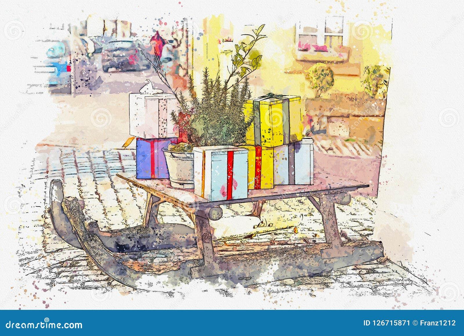 Эскиз акварели или иллюстрация украшений рождества улицы
