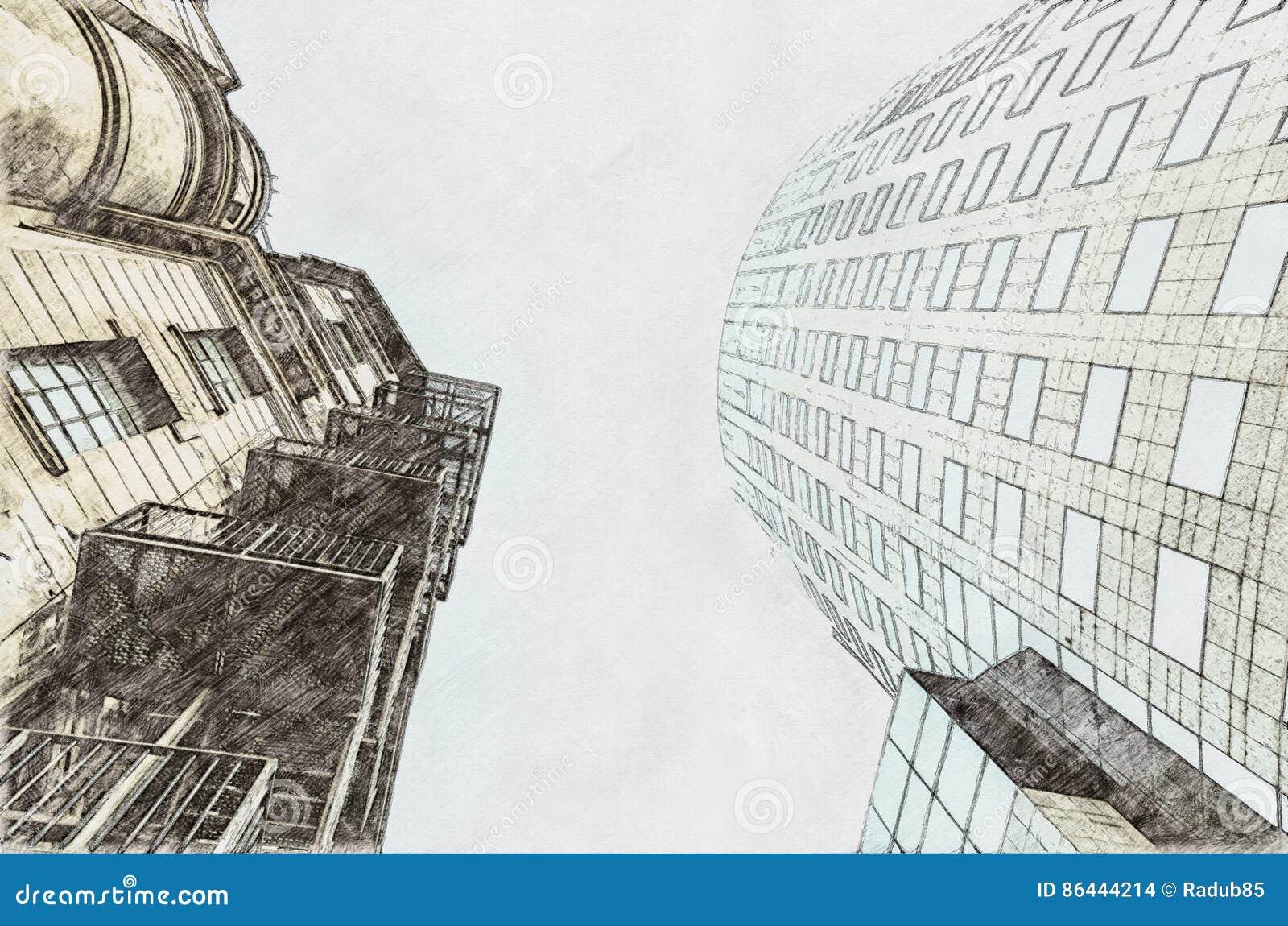 Эскиз архитектуры старой против нового понятия
