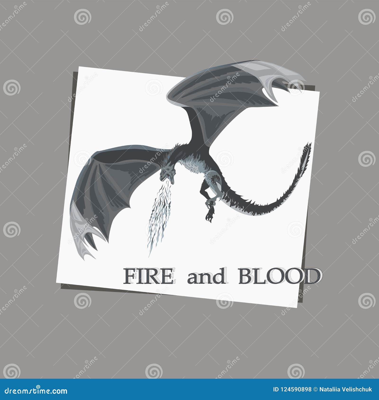 Эскиз атакуя дракона на белой предпосылке