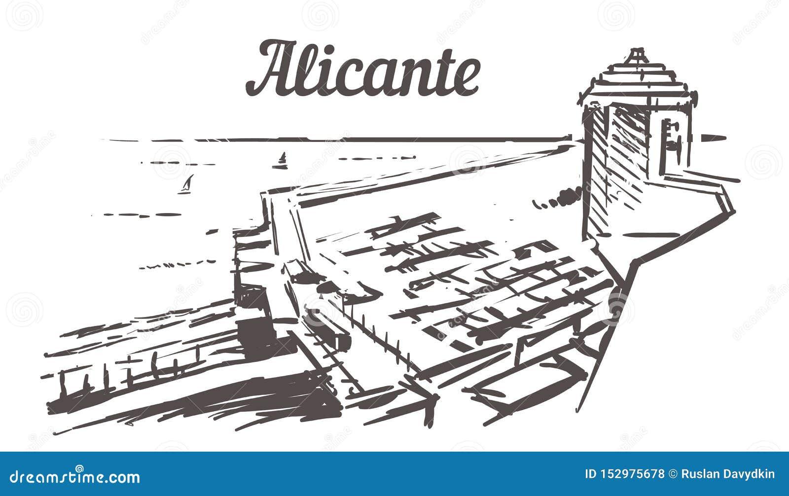 Эскиз горизонта Аликанте Вид на море Аликанте, Испании от иллюстрации руки замка вычерченной
