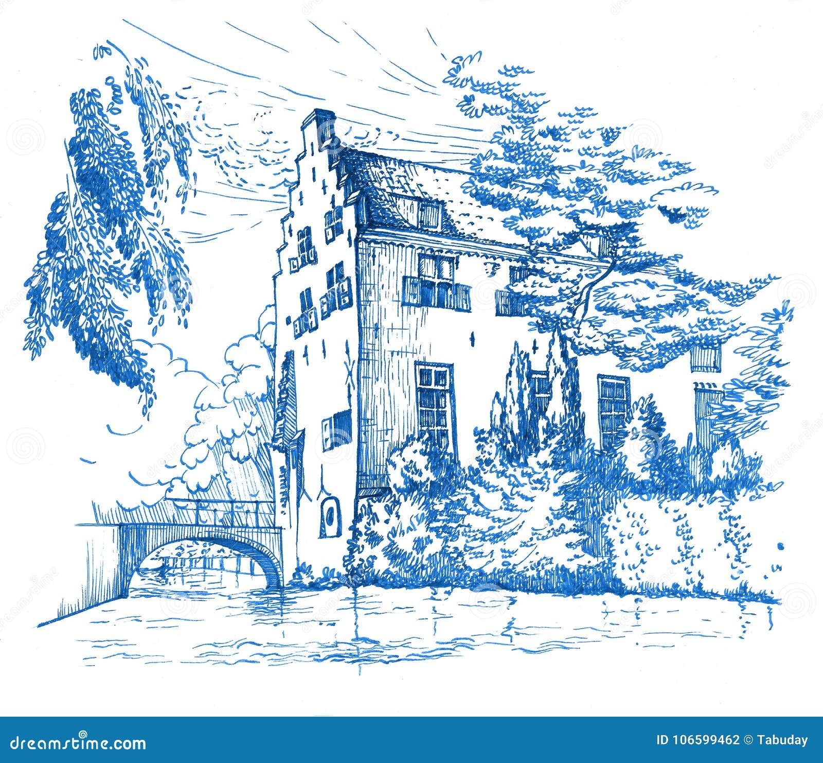 Эскиз исторического дома в Амерсфорте, Нидерландах