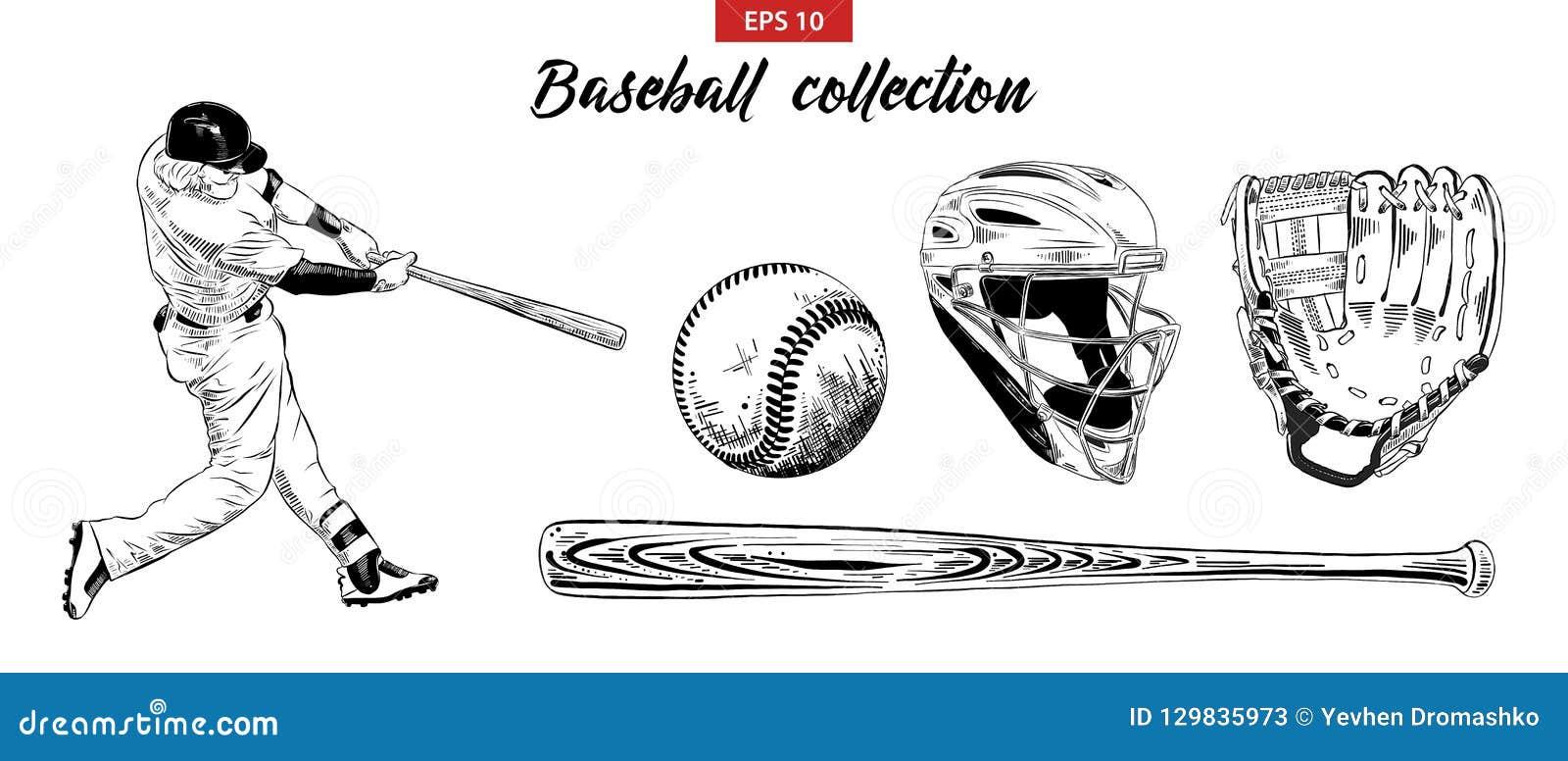 Эскиз руки вычерченный установил бейсболиста, шлема, перчатки, шарика и летучей мыши изолированных на белой предпосылке Детальное