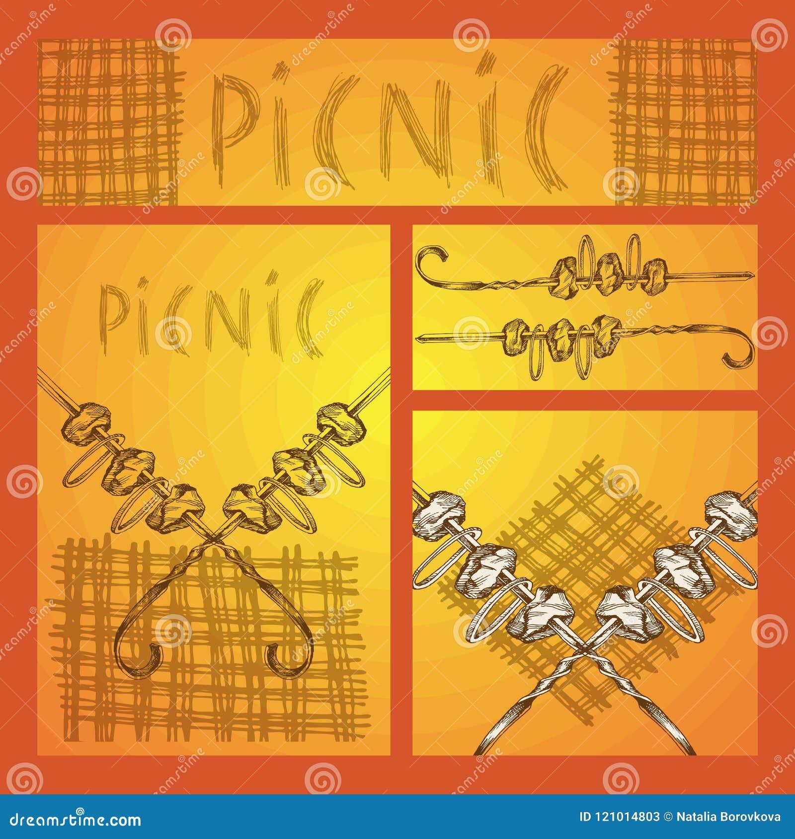Эскиз руки Комплект дела форматирует с изображениями для пикника в стиле Doodle Kebab Shish на протыкальнике и руке