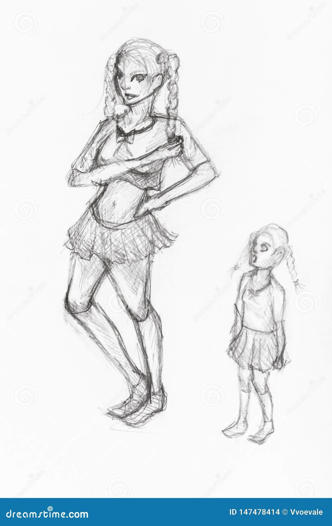Эскиз 2 сестер вручает нарисованный черным карандашем