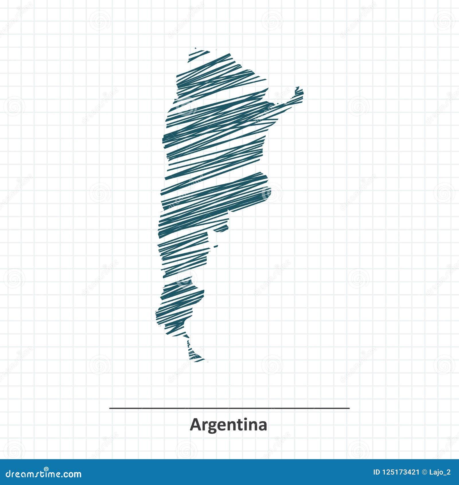 Эскиз Doodle карты Аргентины