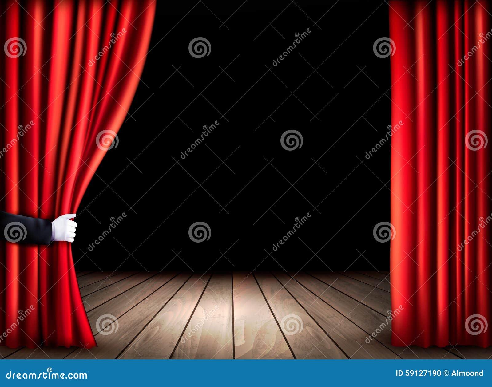 Этап театра с деревянным полом и раскрывает красные занавесы