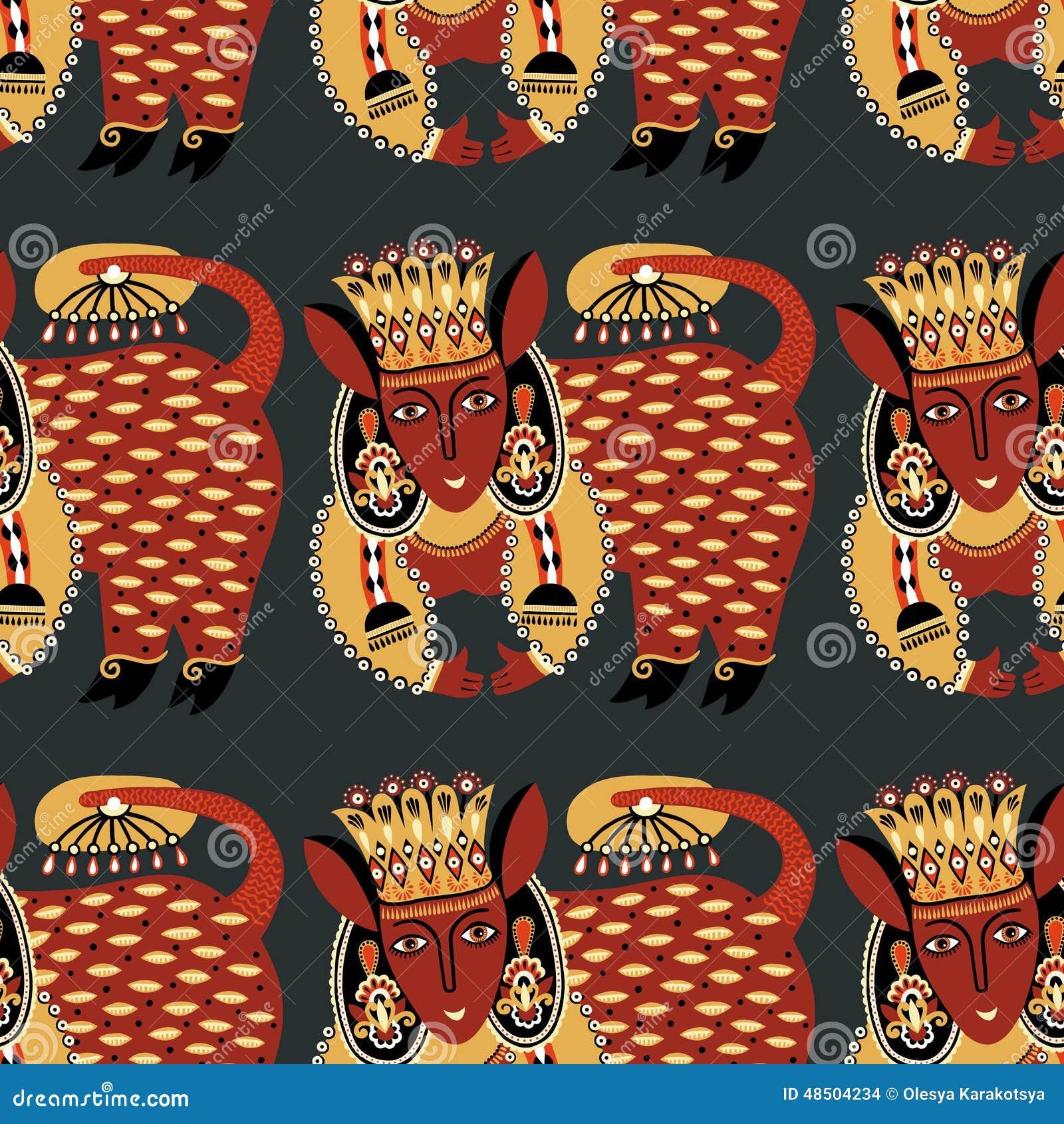 Этническая безшовная ткань картины с необыкновенное племенным