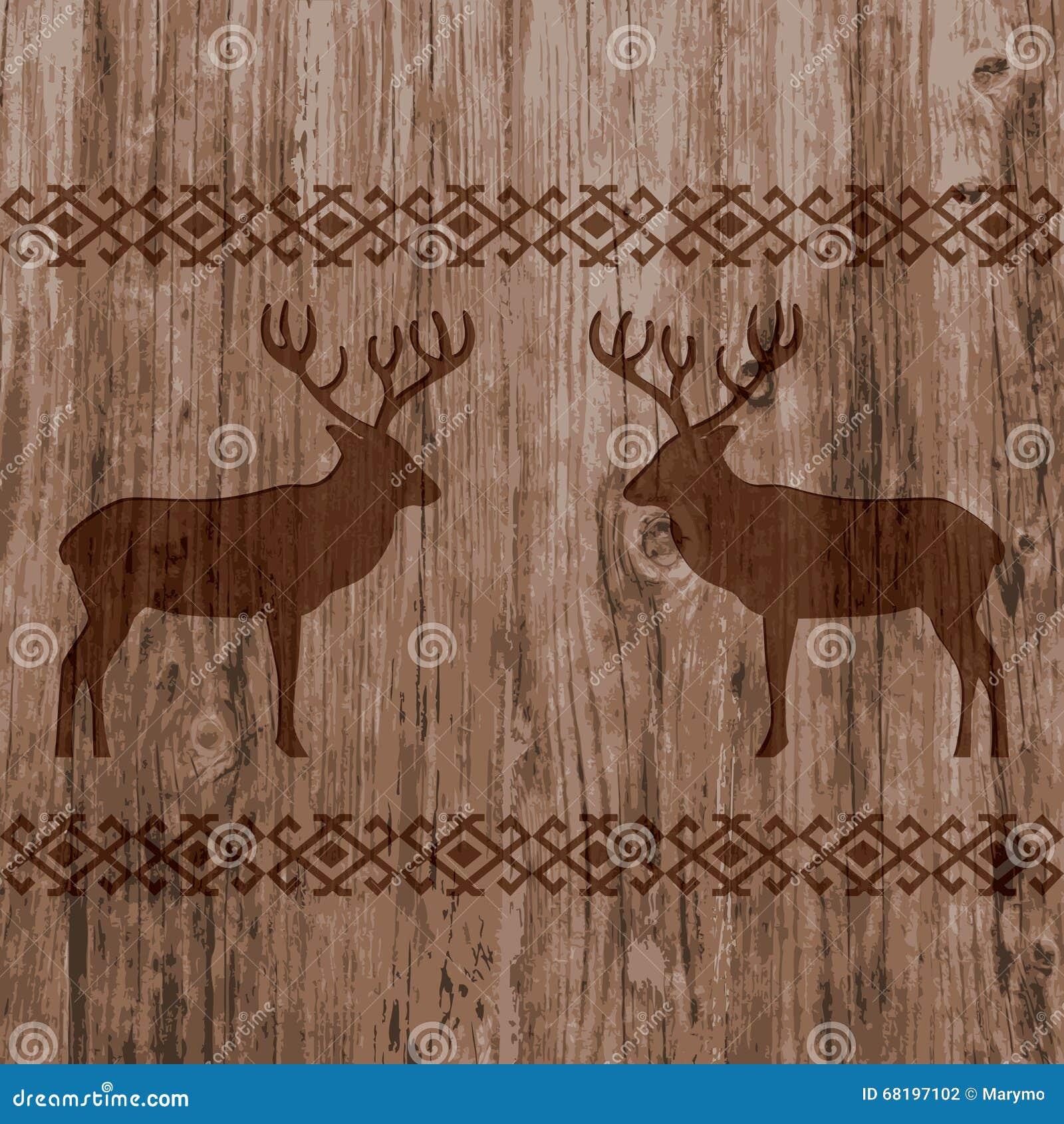 Этническая нордическая картина границ с оленями на реалистической естественной деревянной предпосылке текстуры