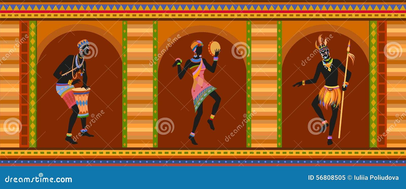 Этнические люди африканца танца
