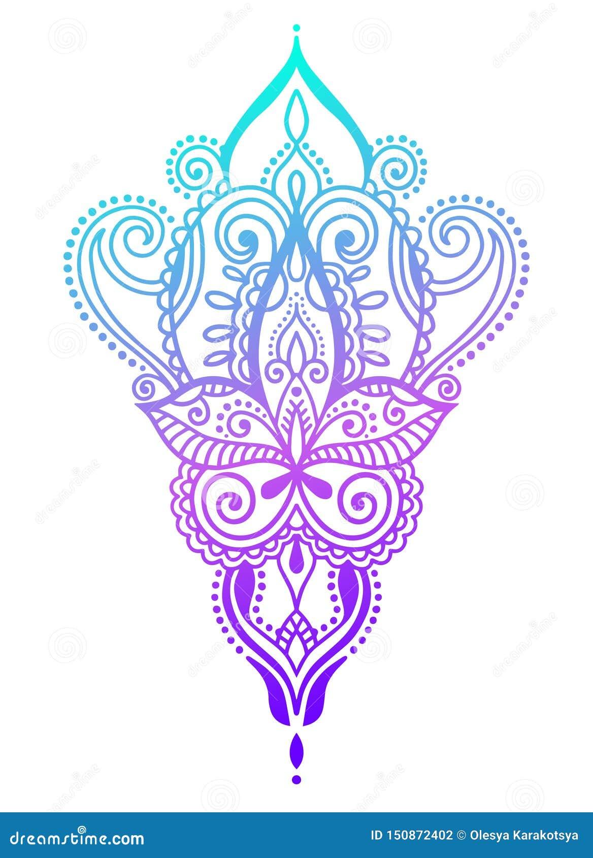 Этнический дизайн татуировки притяжки руки Пейсли, элемент дизайна doodle mehndi хны