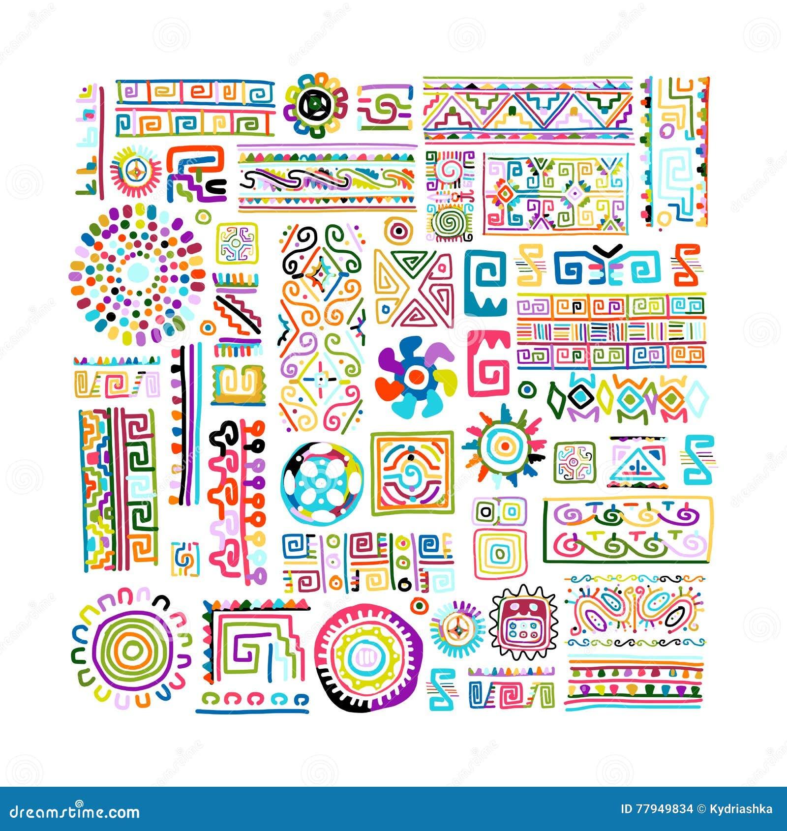 Этнический handmade красочный орнамент для вашего дизайна