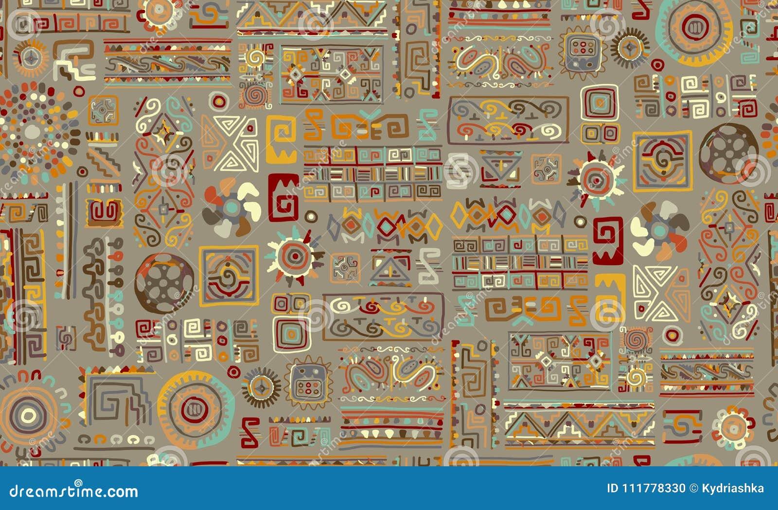 Этнический handmade орнамент, безшовная картина для вашего дизайна