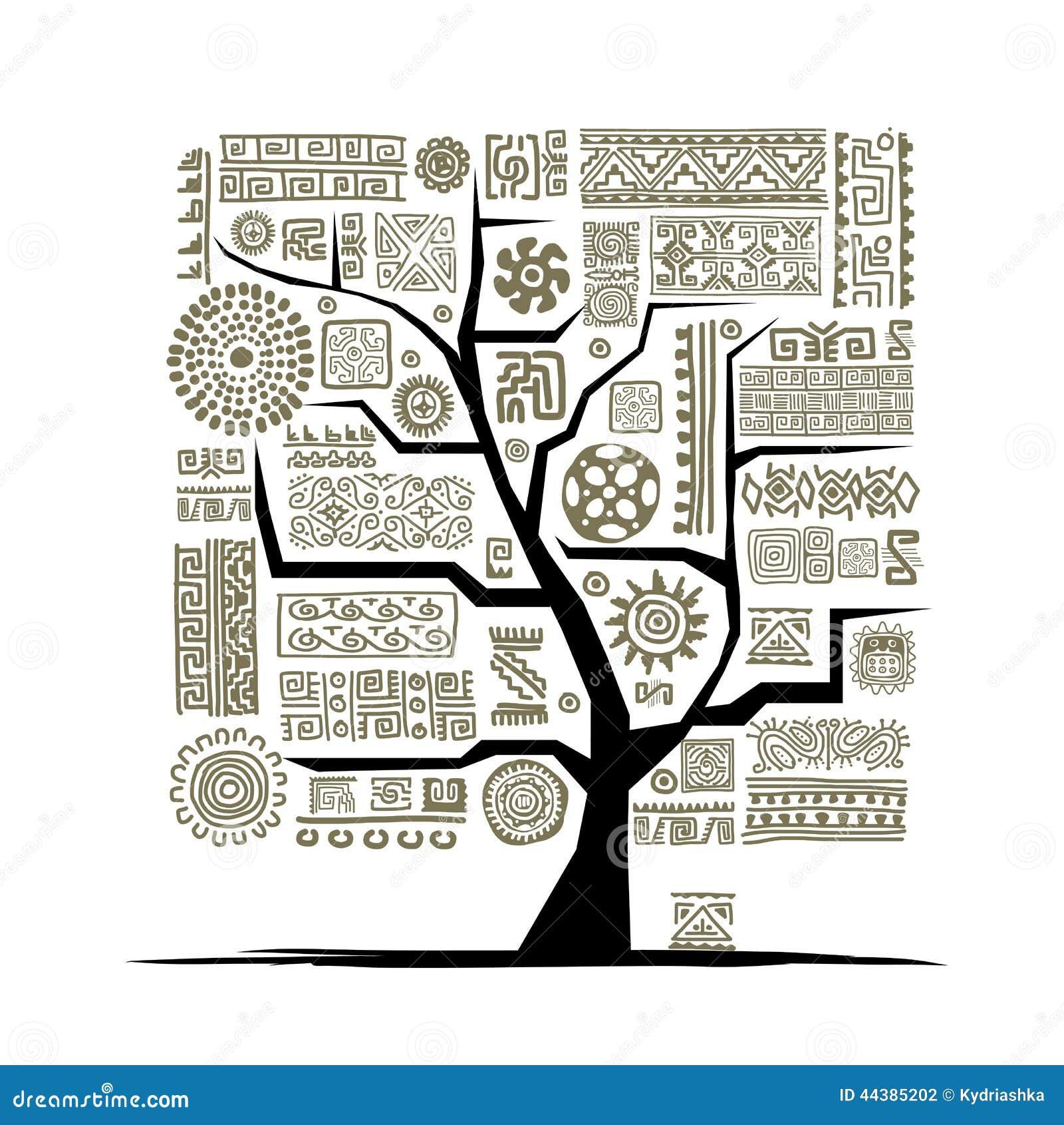 Этническое дерево с handmade орнаментом для вашего дизайна