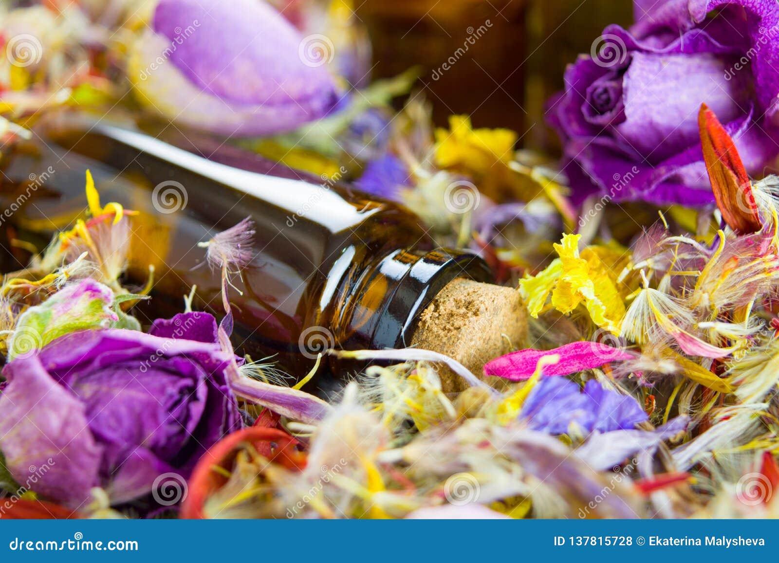 Эфирные масла, ароматерапия, сухие цветки Стоковое Фото ...