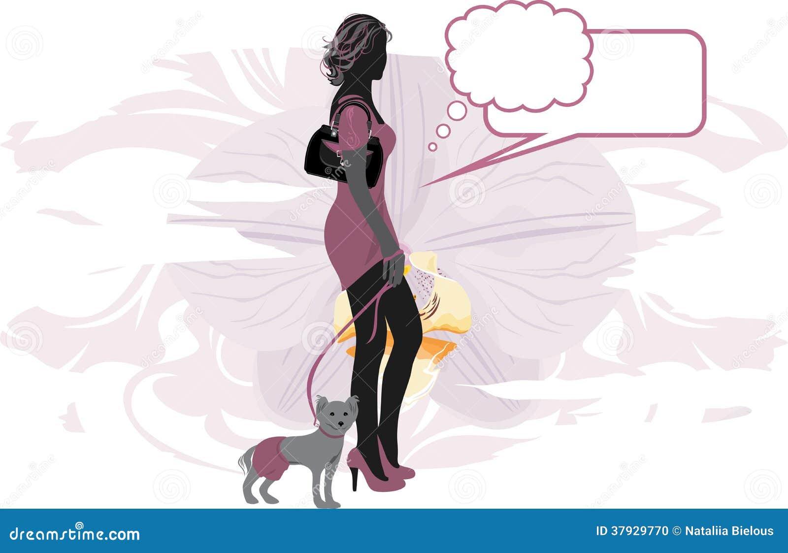 Элегантная женщина с маленькой собакой