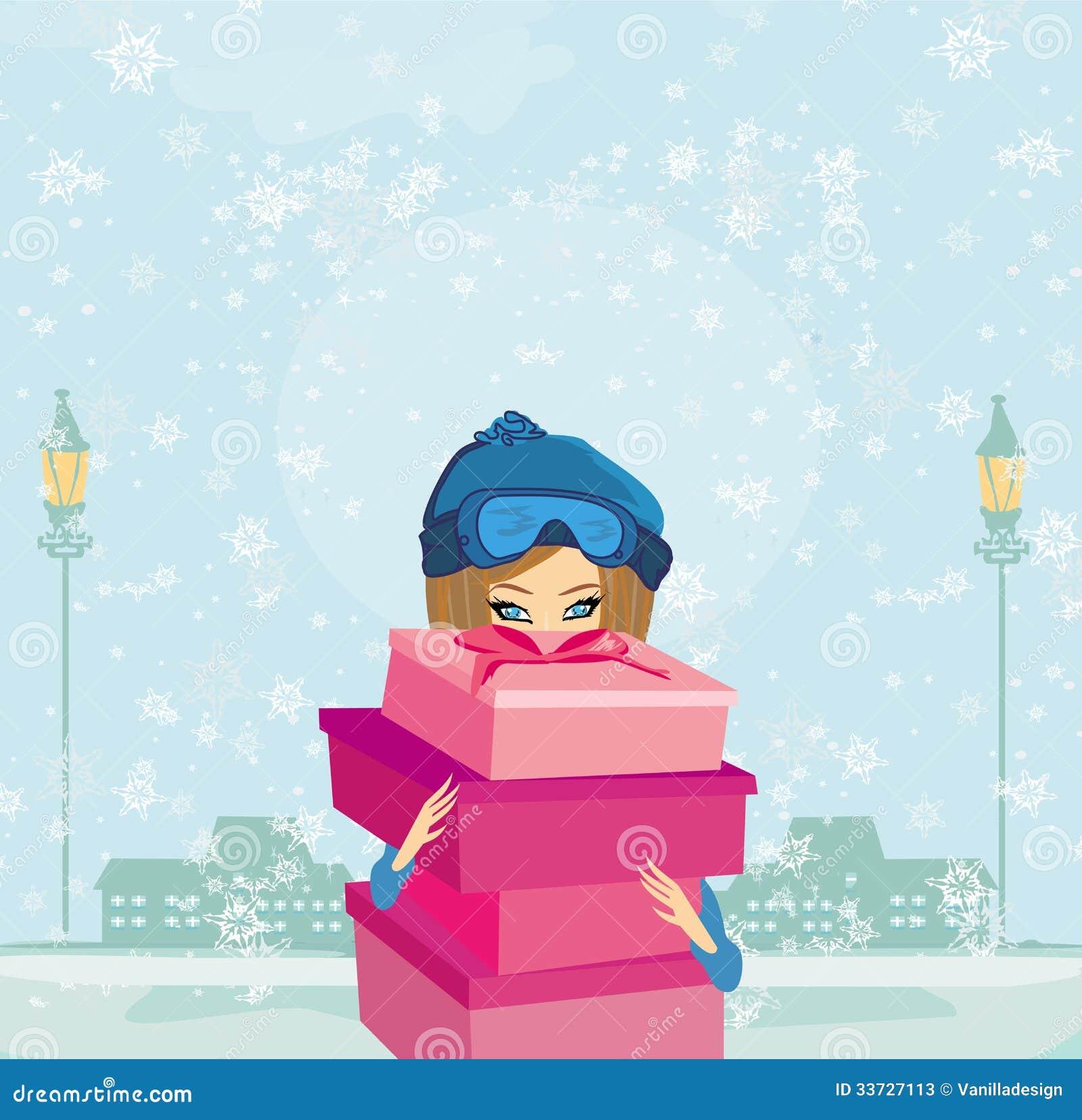 Элегантная и модная девушка с подарочной коробкой