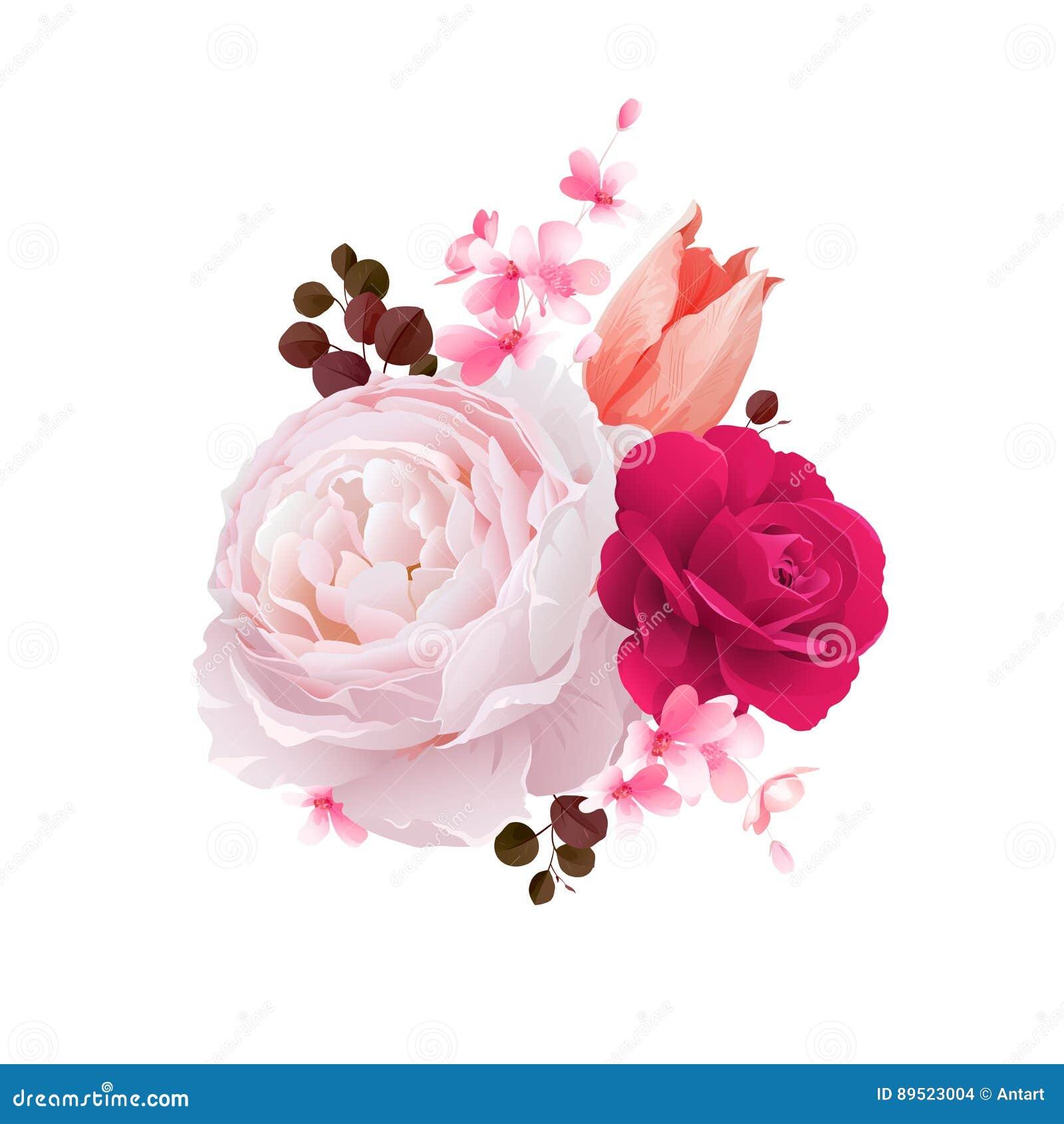 Элегантность цветет букет роз и тюльпана цвета Состав с цветками цветения также вектор иллюстрации притяжки corel