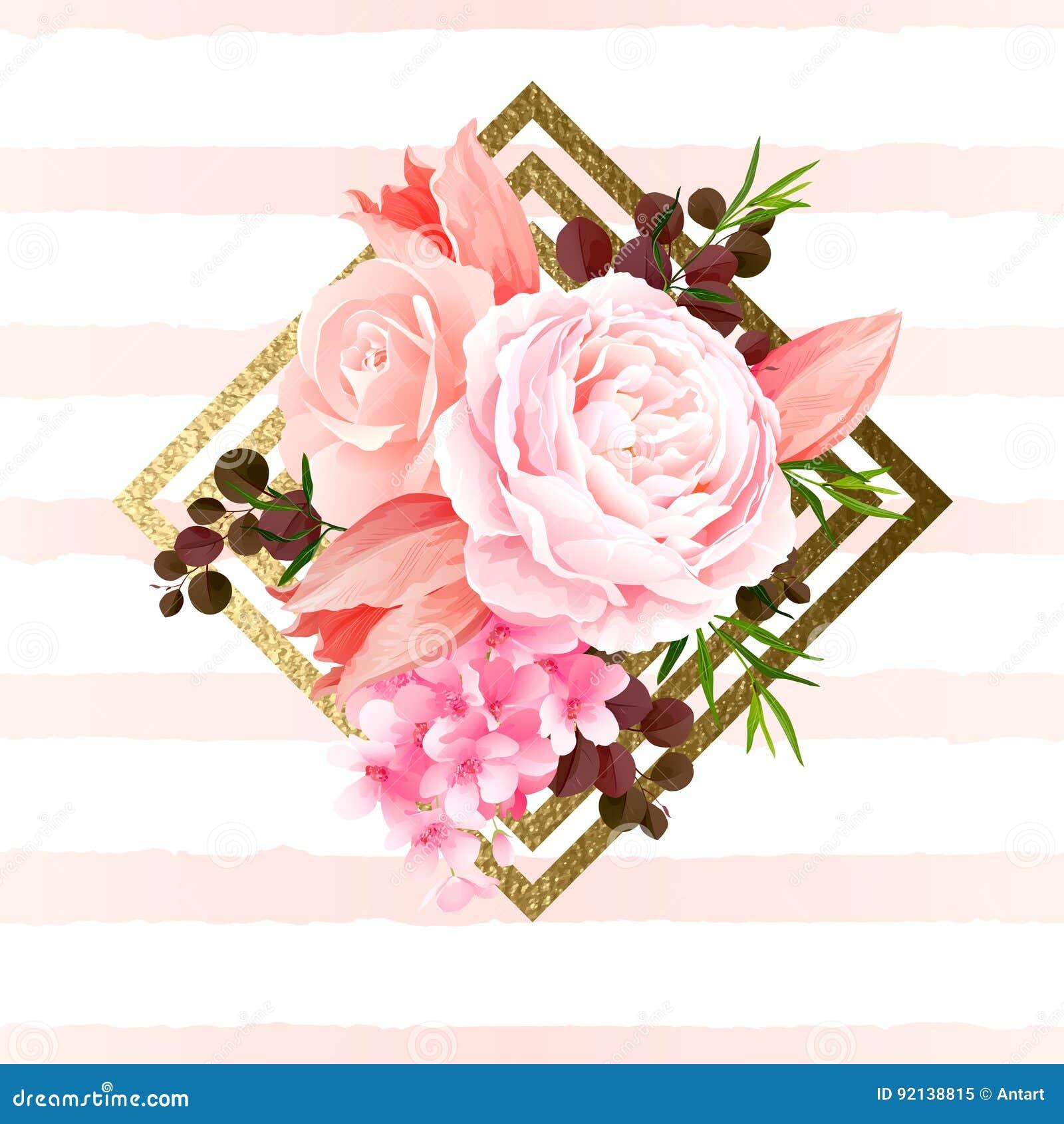 Элегантность цветет букет роз и тюльпанов цвета Состав с цветением цветет на элементе геометрического дизайна