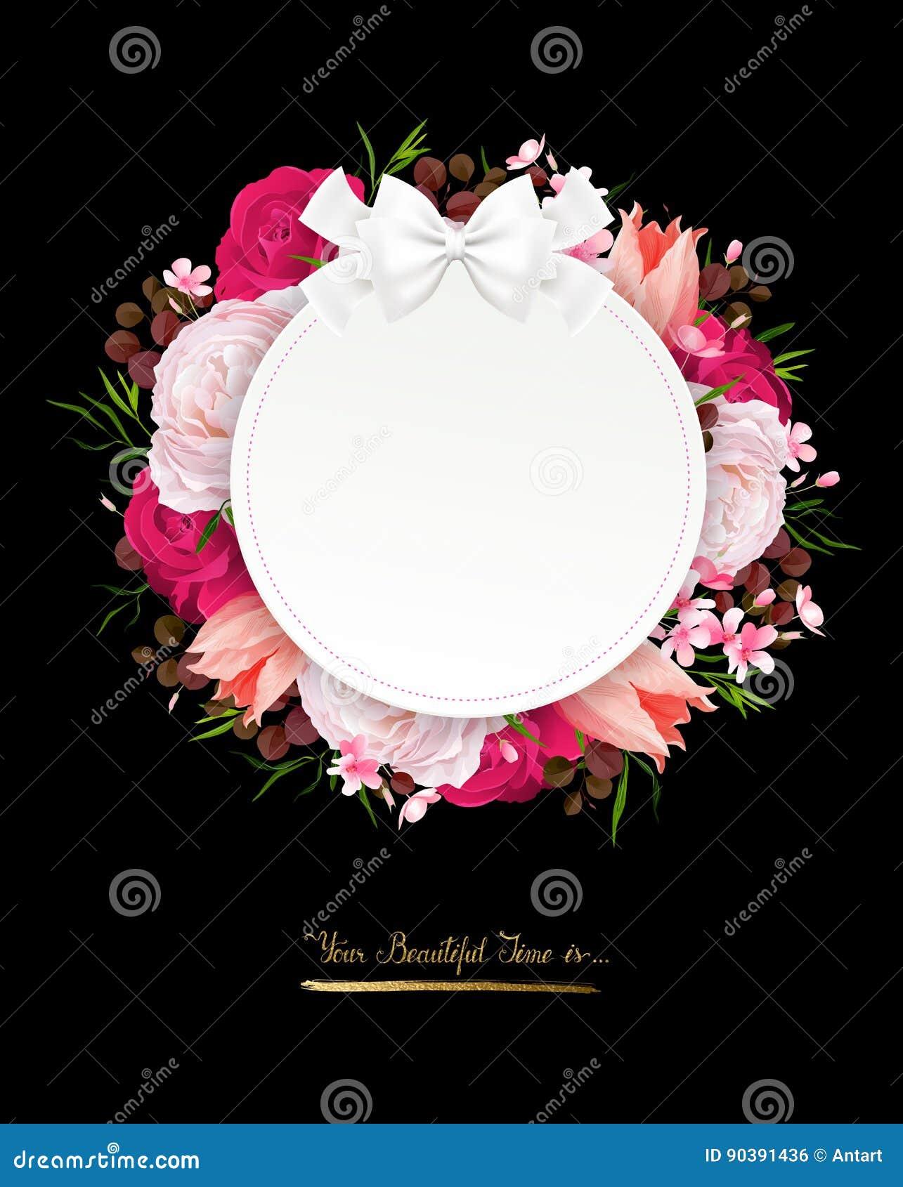 Элегантность цветет рамка роз цвета Состав с цветками цветения