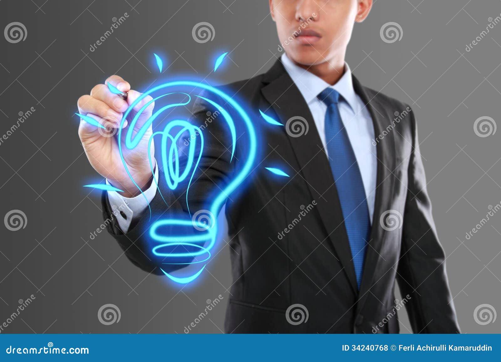 Электрическая лампочка идеи чертежа бизнесмена