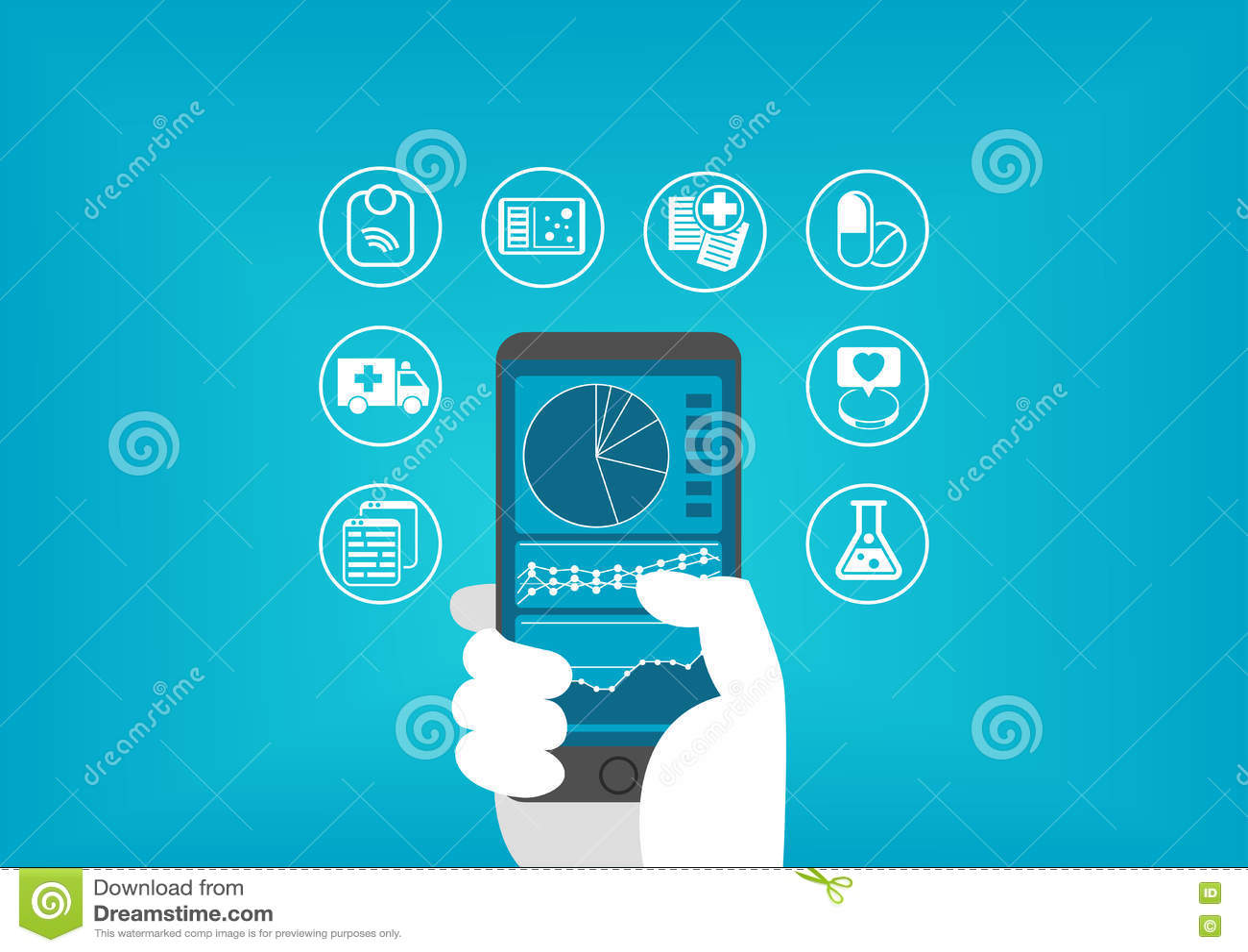 Download Электронная концепция здравоохранения (e-здоровья) при рука держа умный телефон для того чтобы достигнуть цифровых медицинских ис Иллюстрация вектора - иллюстрации насчитывающей нарушение, внимательность: 72293478