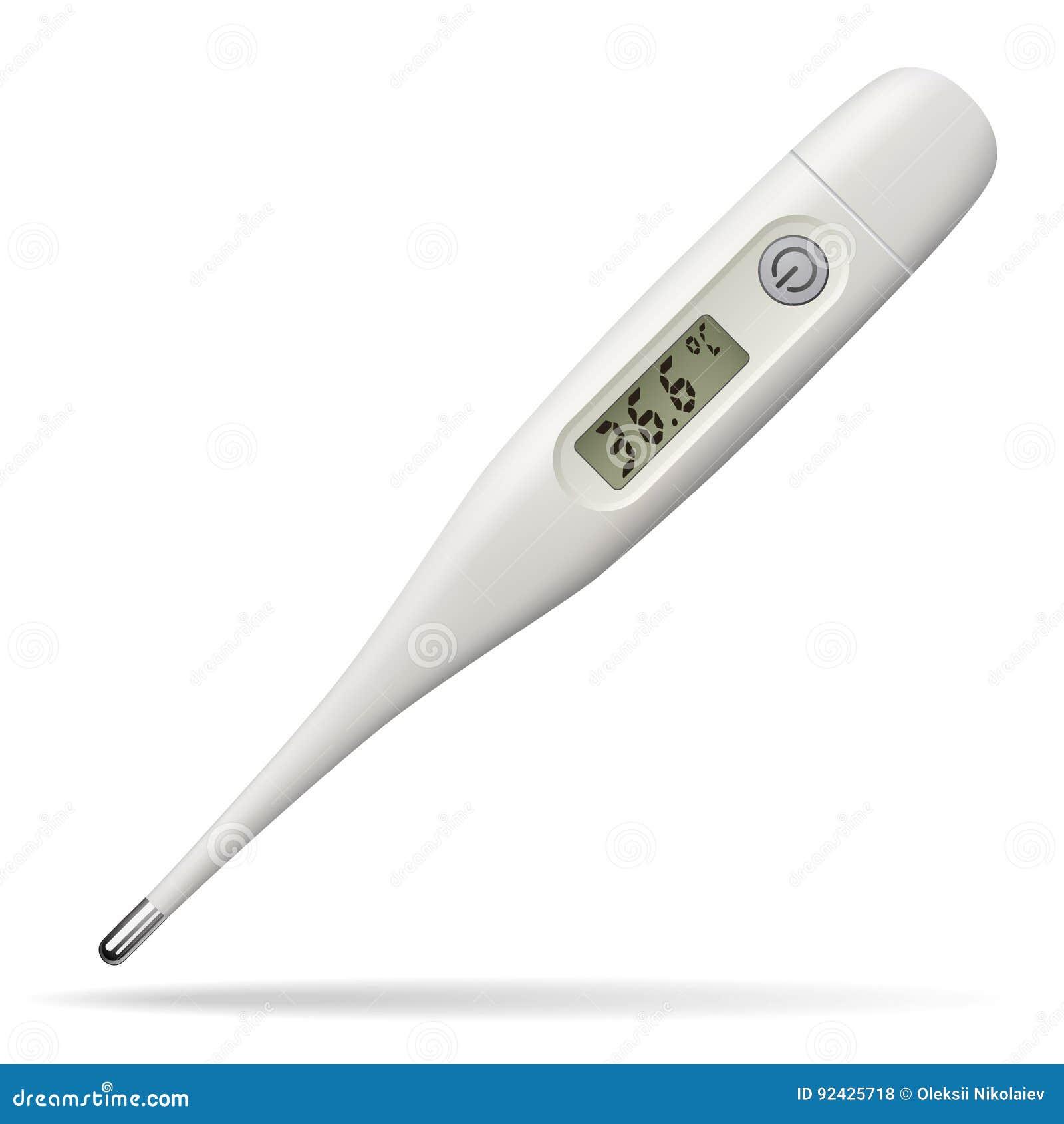 электронный медицинский термометр Прибор цифров для измерять температуру человеческого тела Изолированный предмет бело