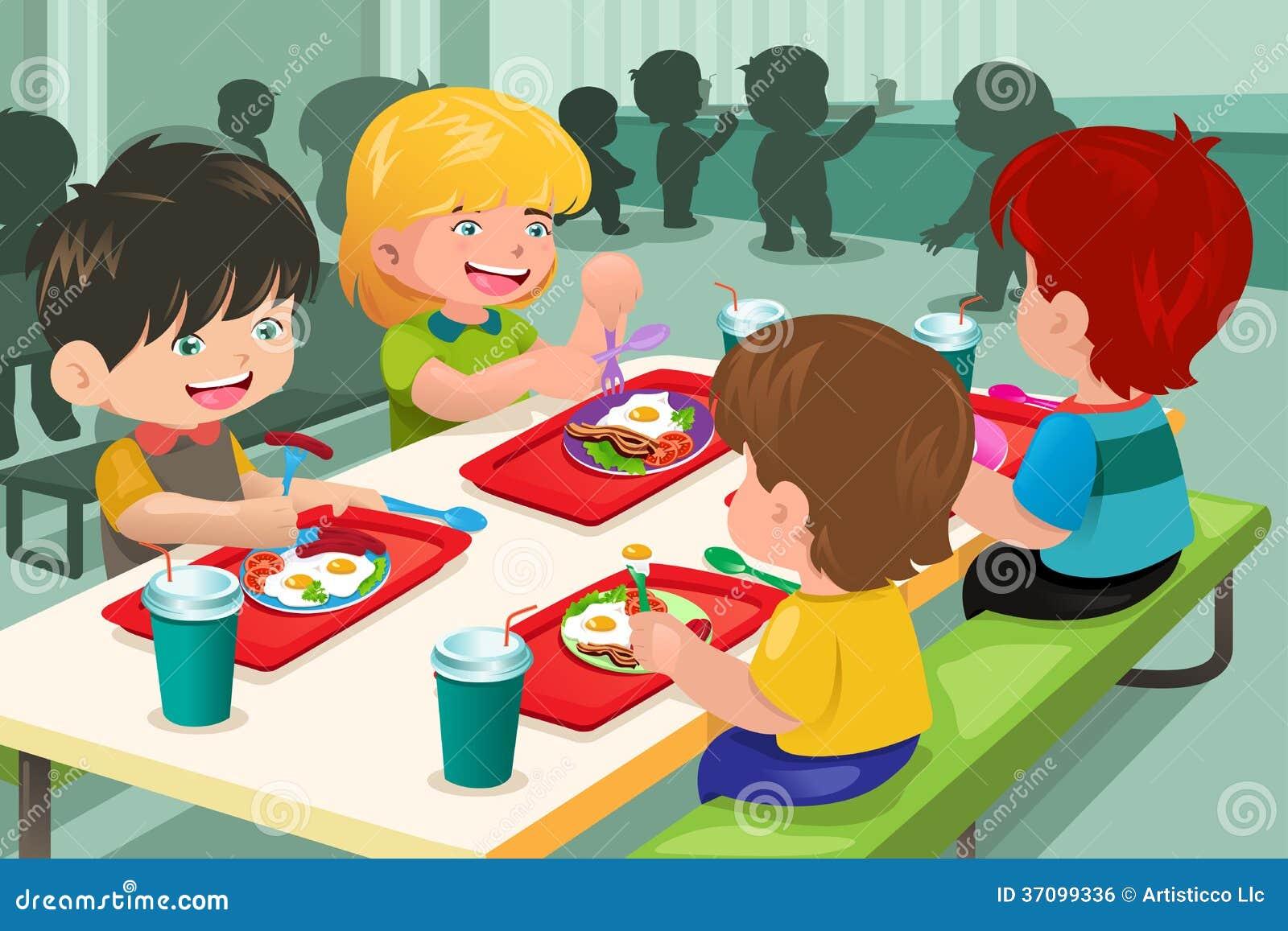 Элементарные студенты есть обед в столовой
