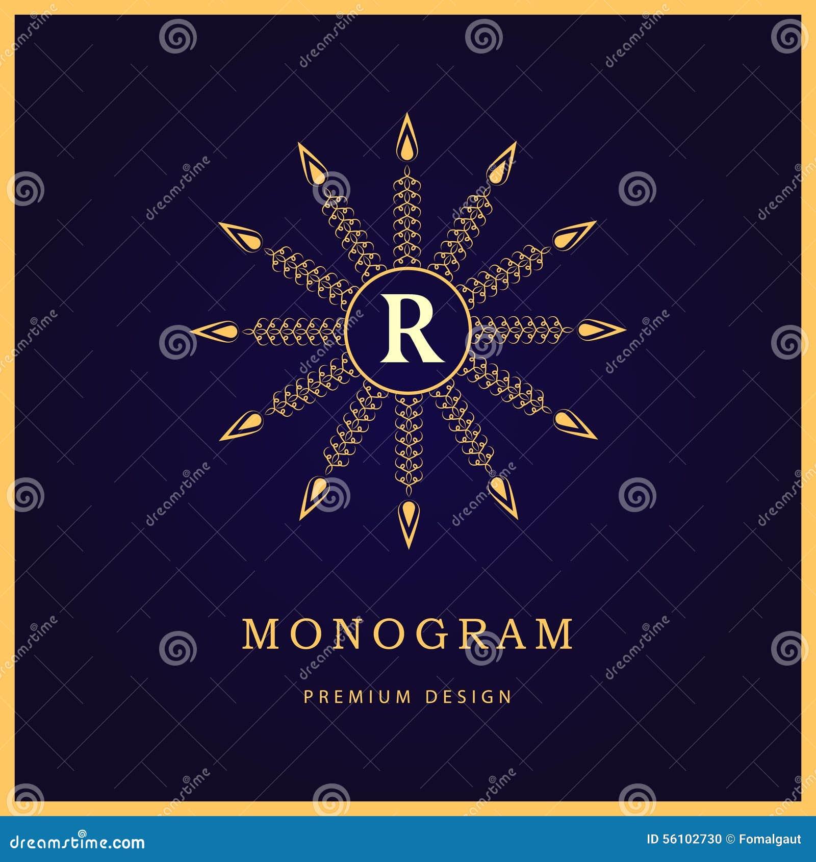 Элементы дизайна вензеля, грациозно шаблон Каллиграфическая элегантная линия дизайн логотипа искусства письмо r Знак дела для кор
