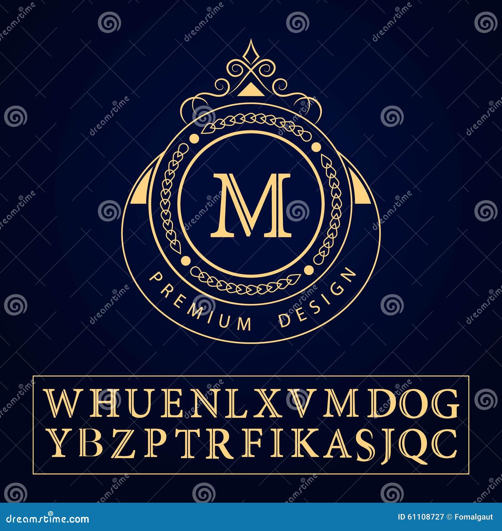 Элементы дизайна вензеля, грациозно шаблон Каллиграфическая элегантная линия дизайн логотипа искусства Пометьте буквами знак m эм