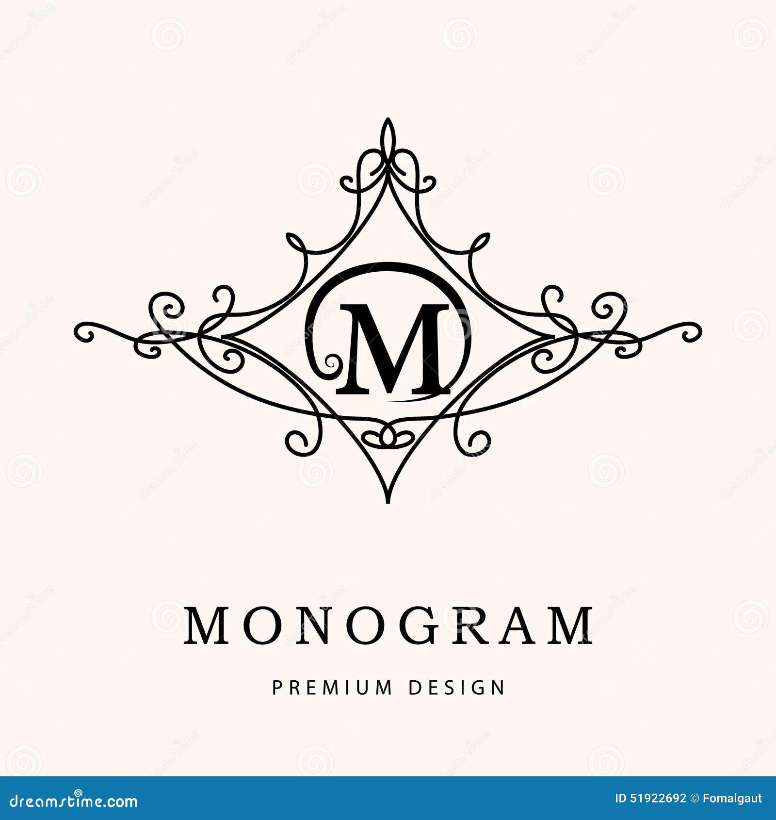 Элементы дизайна вензеля, грациозно шаблон Элегантная линия дизайн логотипа искусства письмо m эмблема также вектор иллюстрации п