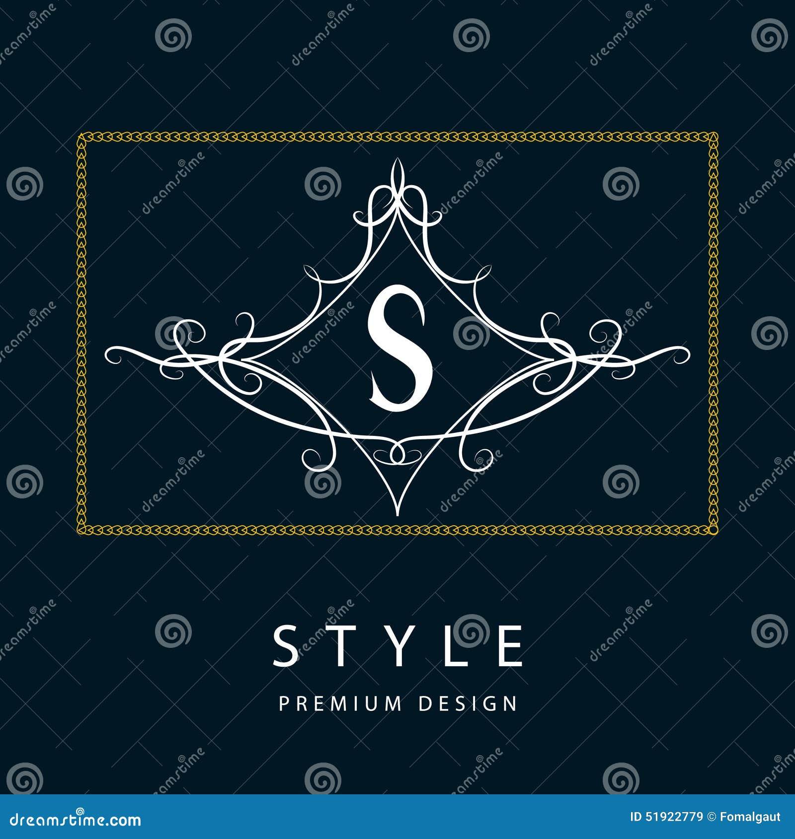 Элементы дизайна вензеля, грациозно шаблон Элегантная линия дизайн логотипа искусства письмо s эмблема также вектор иллюстрации п