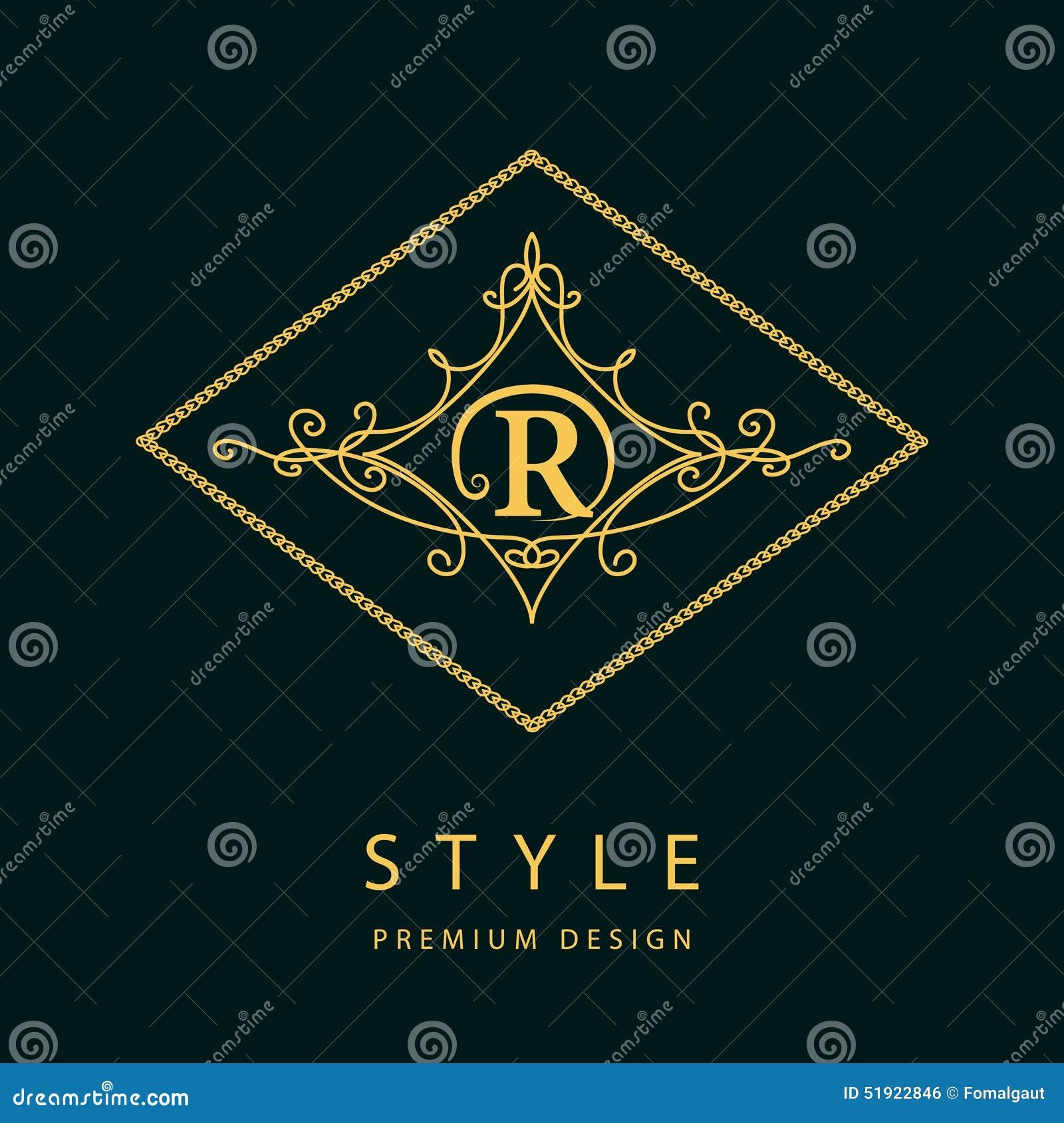 Элементы дизайна вензеля, грациозно шаблон Элегантная линия дизайн логотипа искусства письмо r эмблема также вектор иллюстрации п
