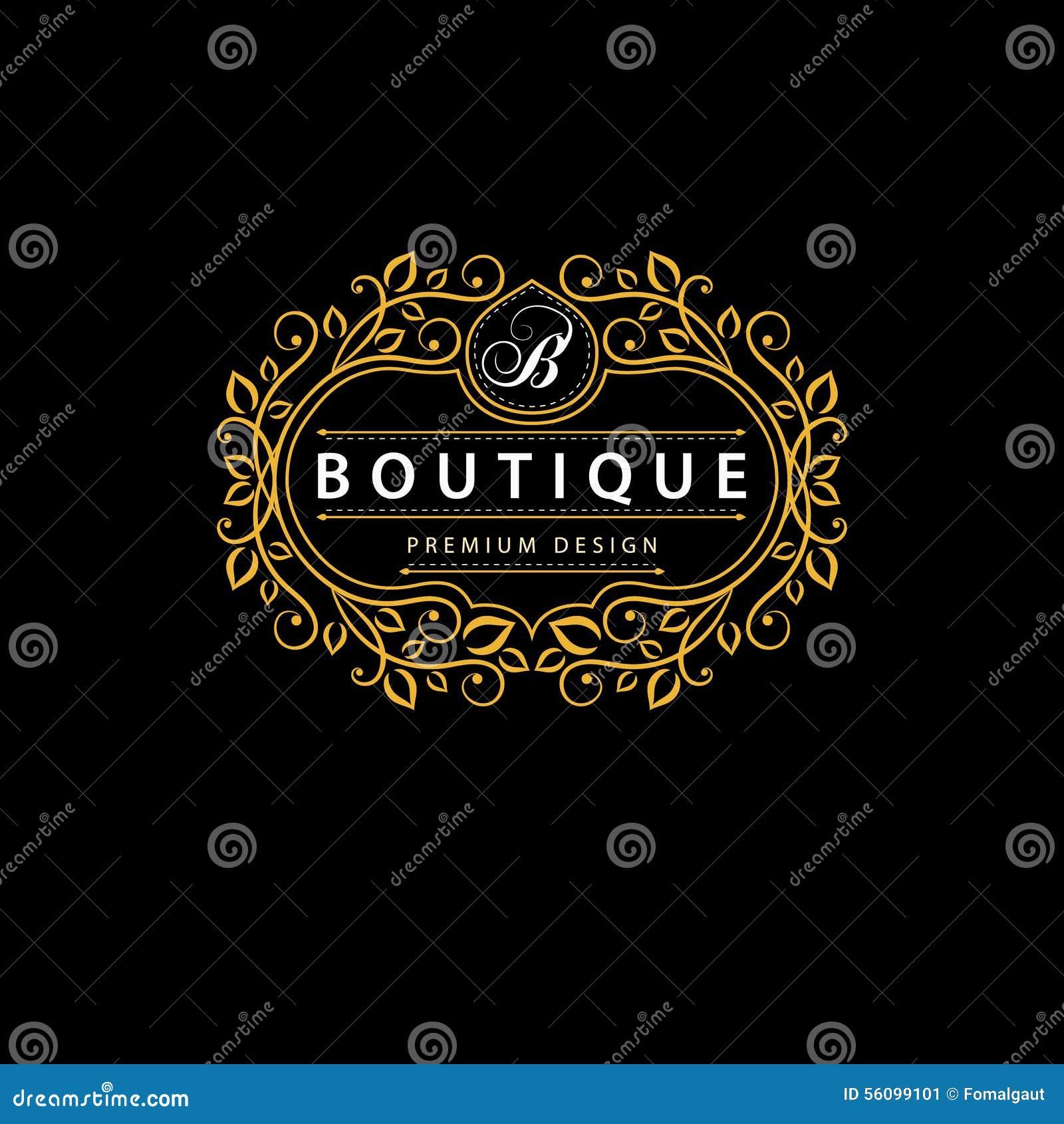 Элементы дизайна вензеля, грациозно шаблон Элегантная линия дизайн логотипа искусства Знак дела, идентичность для ресторана, коро